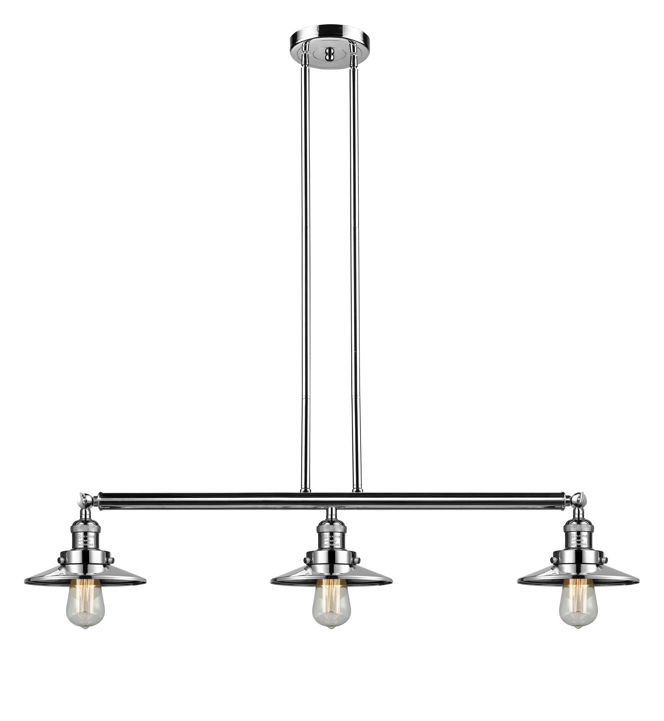 Railroad 3-Light Kitchen Island Pendant Bulb Type: LED, Finish: Polished Nickel