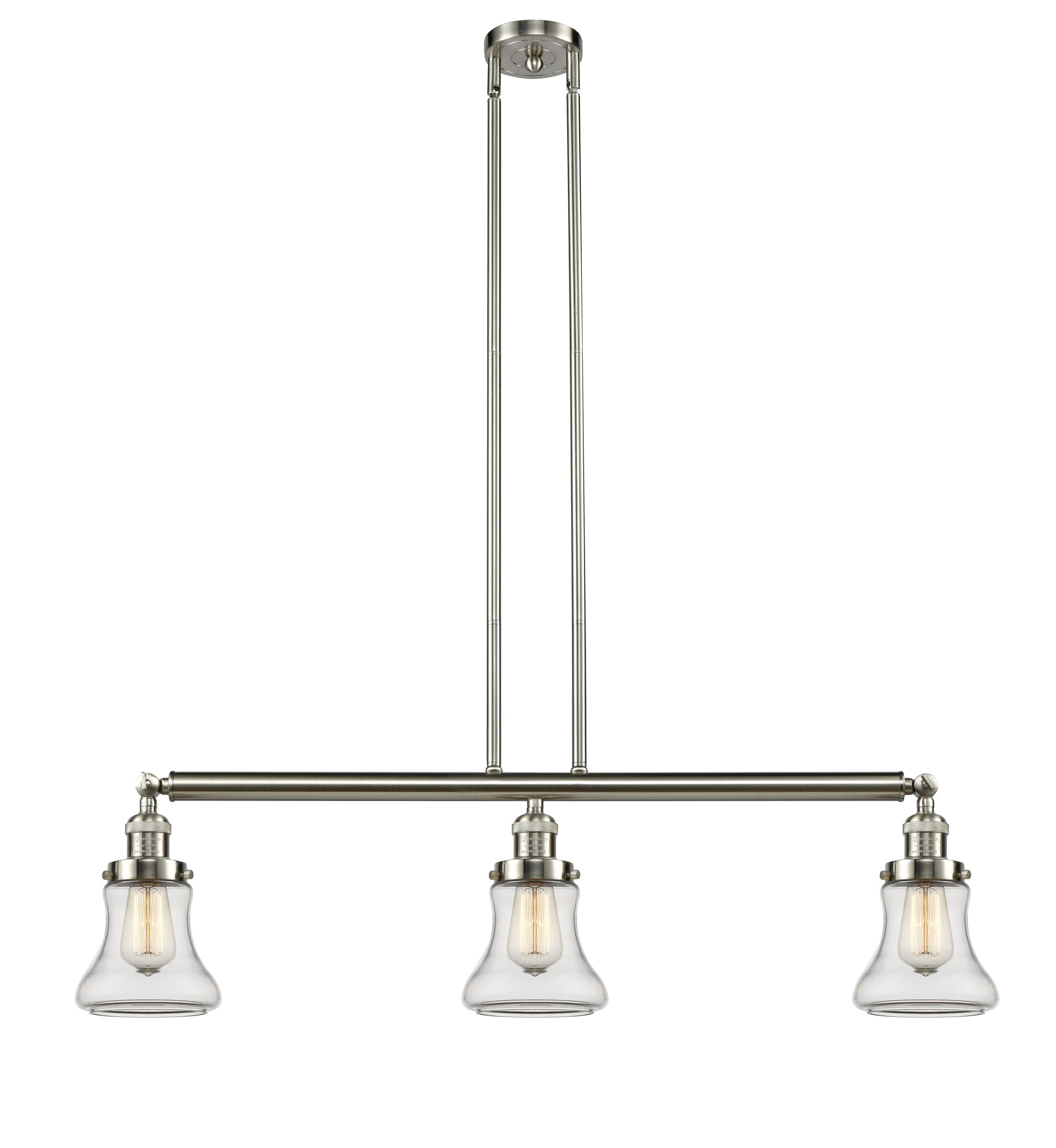 Nardone 3-Light Kitchen Island Pendant Shade Color: Clear, Bulb Type: LED, Finish: Brushed Satin Nickel
