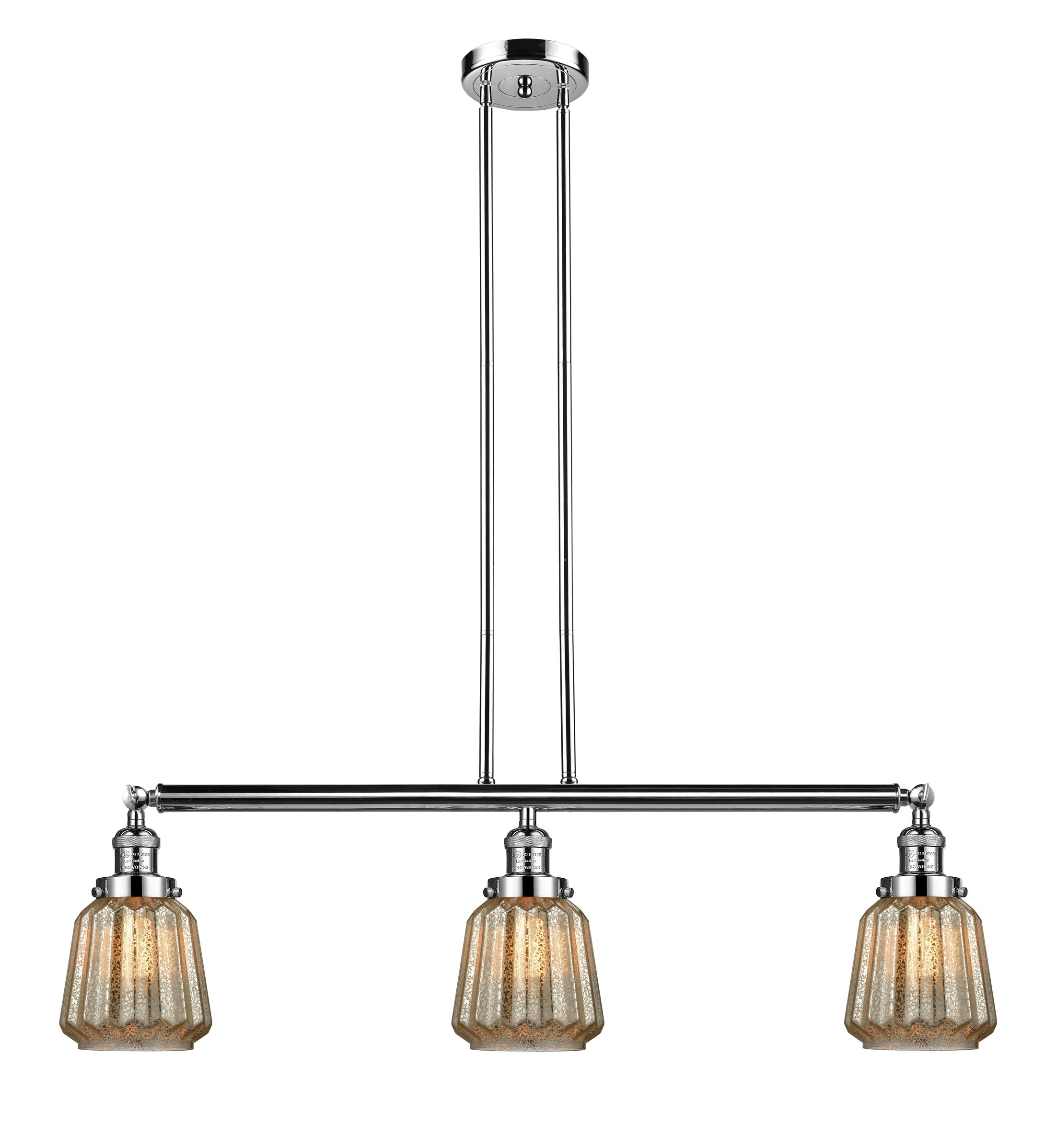 Vinson 3-Light Kitchen Island Pendant Bulb Type: Incandescent, Shade Color: Mercury Plated, Finish: Polished Nickel
