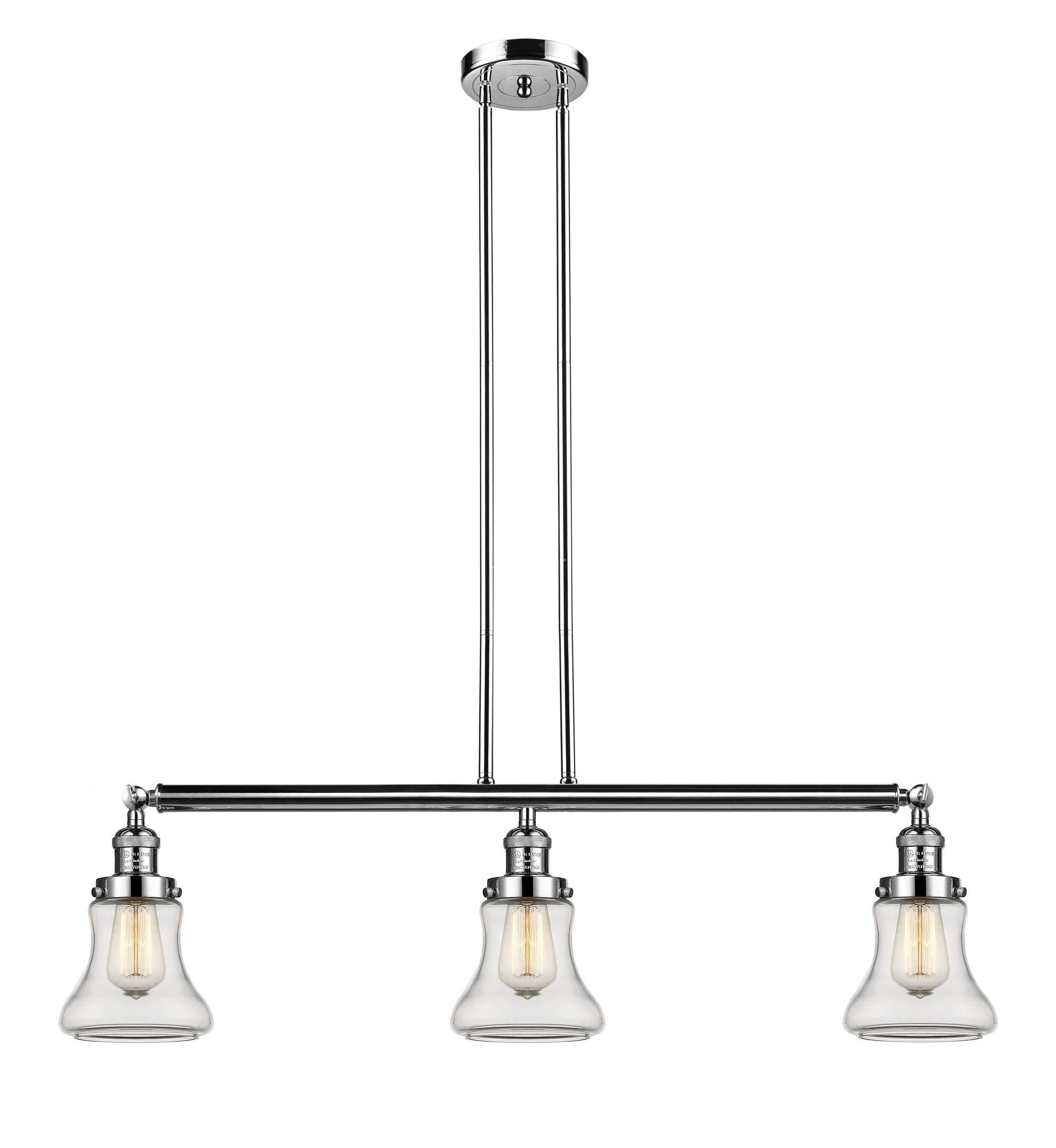 Nardone 3-Light Kitchen Island Pendant Shade Color: Clear, Bulb Type: Incandescent, Finish: Polished Nickel