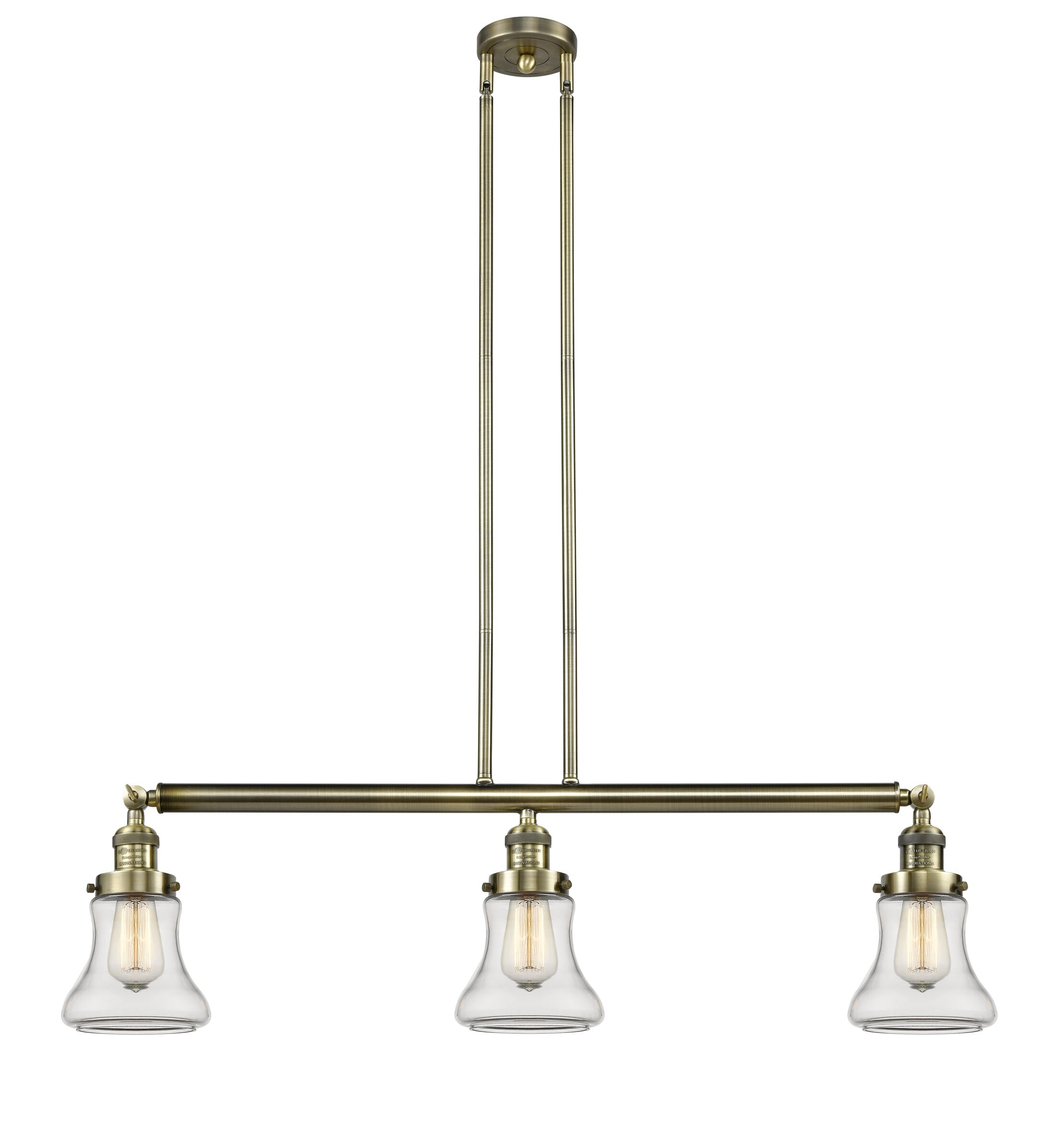Nardone 3-Light Kitchen Island Pendant Bulb Type: Incandescent, Shade Color: Seedy, Finish: Black Brushed Brass
