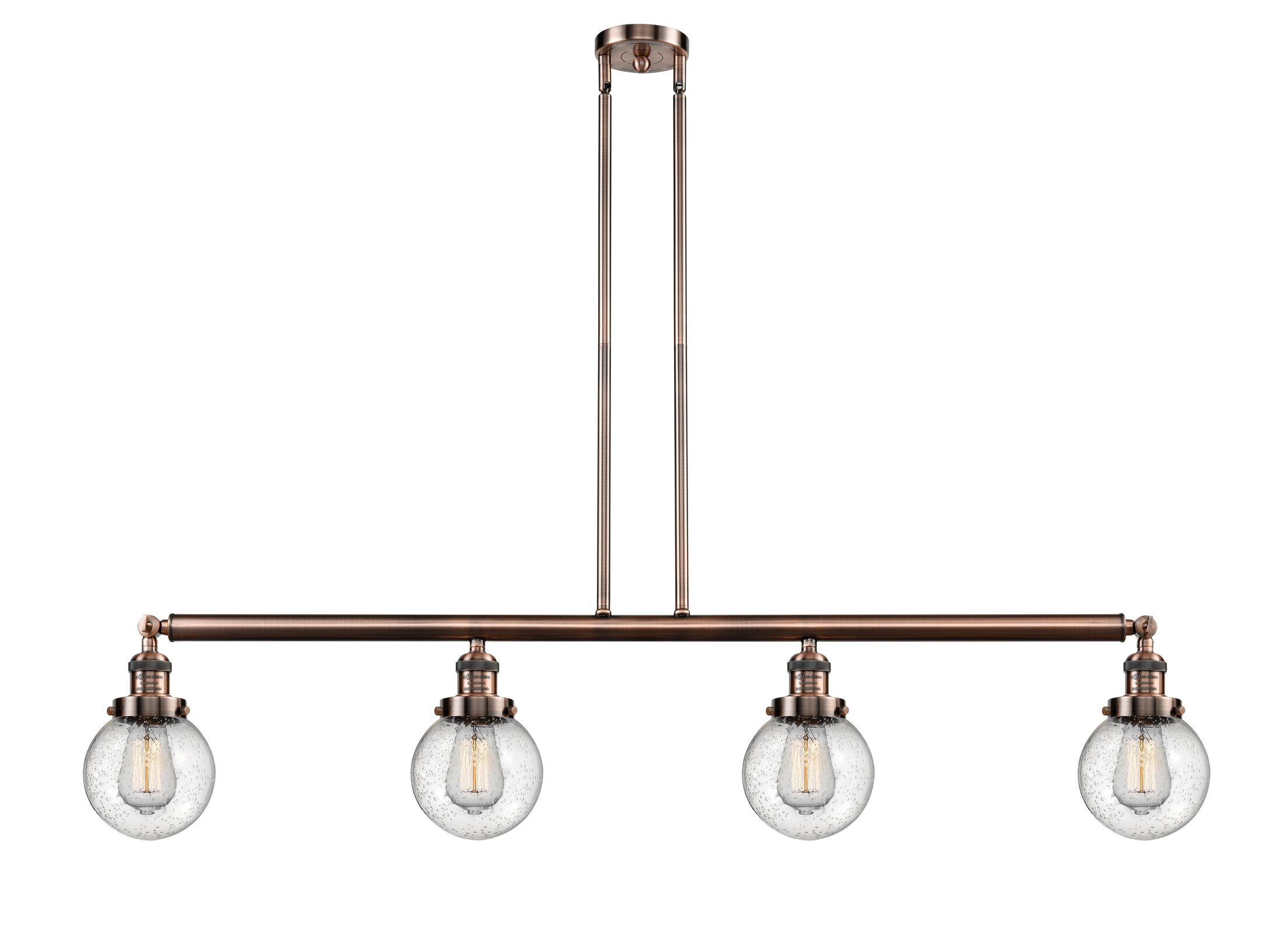 Jackeline 4-Light Kitchen Island Pendant Bulb Type: LED, Shade Color: Seedy, Finish: Antique Copper