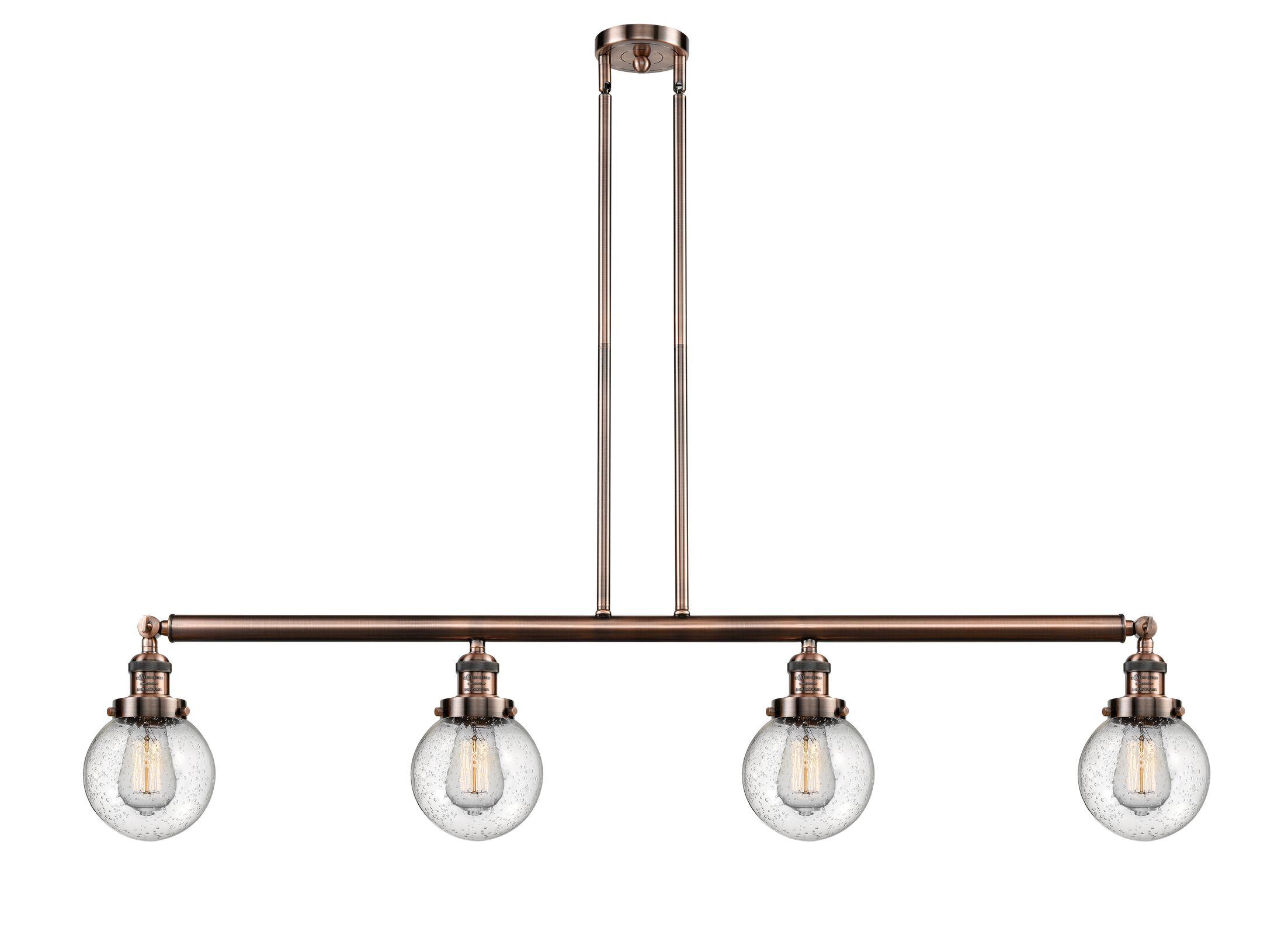 Jackeline 4-Light Kitchen Island Pendant Finish: Antique Brass, Bulb Type: LED, Shade Color: Clear