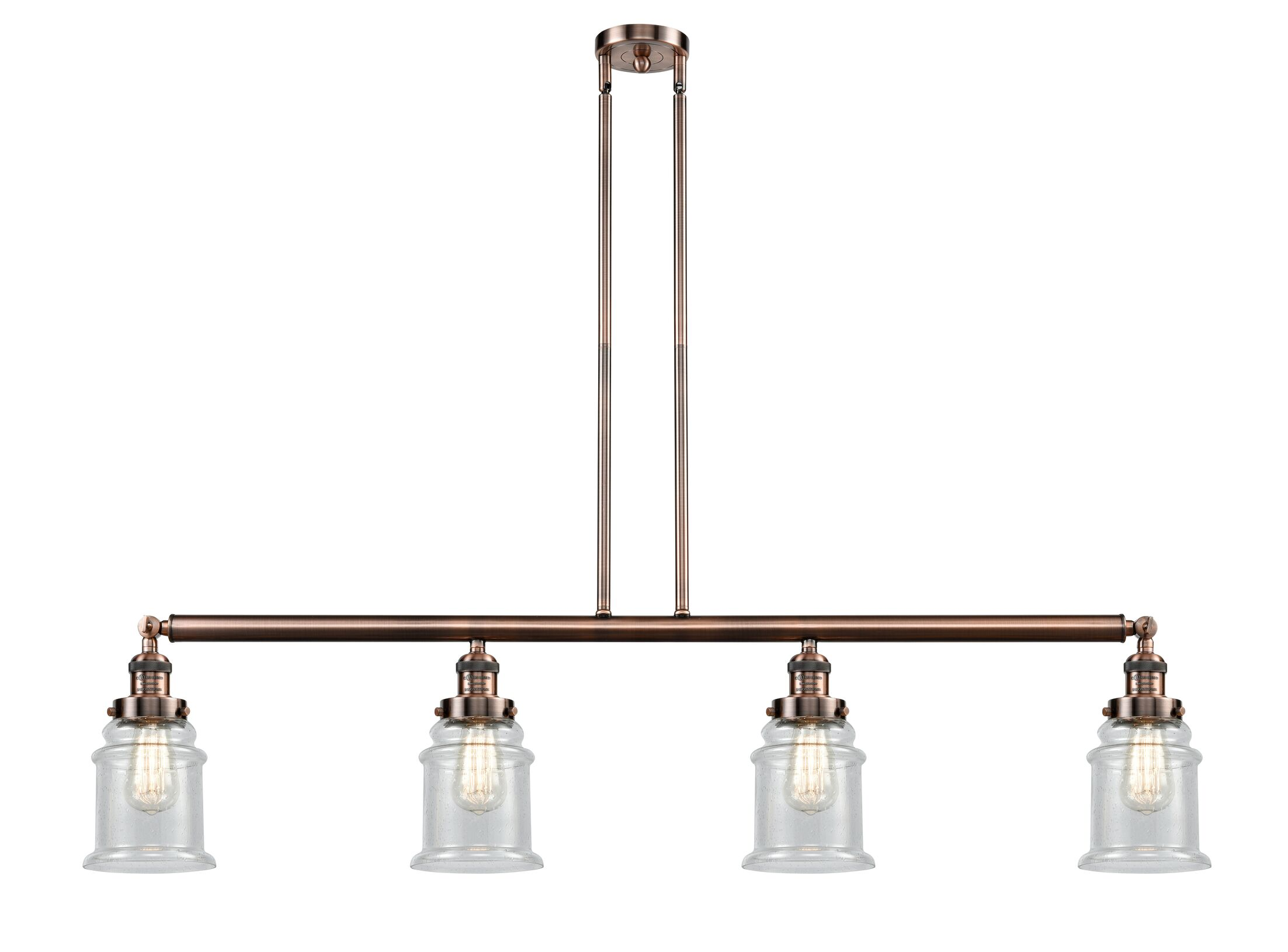 Greeley 4-Light Kitchen Island Pendant Finish: Antique Brass, Shade Color: Clear, Bulb Type: LED
