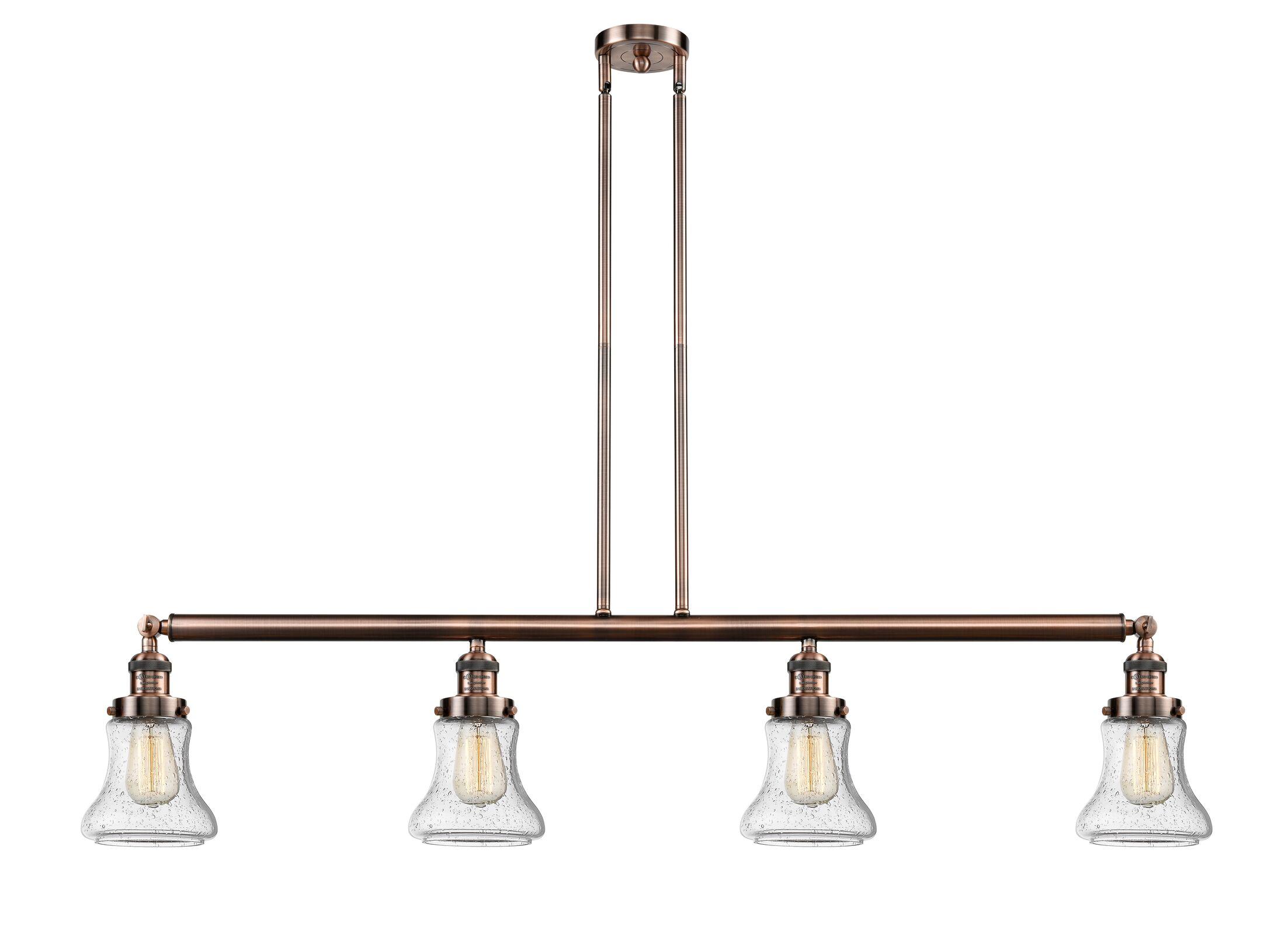 Nardone 4-Light Kitchen Island Pendant Shade Color: Clear, Bulb Type: LED, Finish: Antique Copper