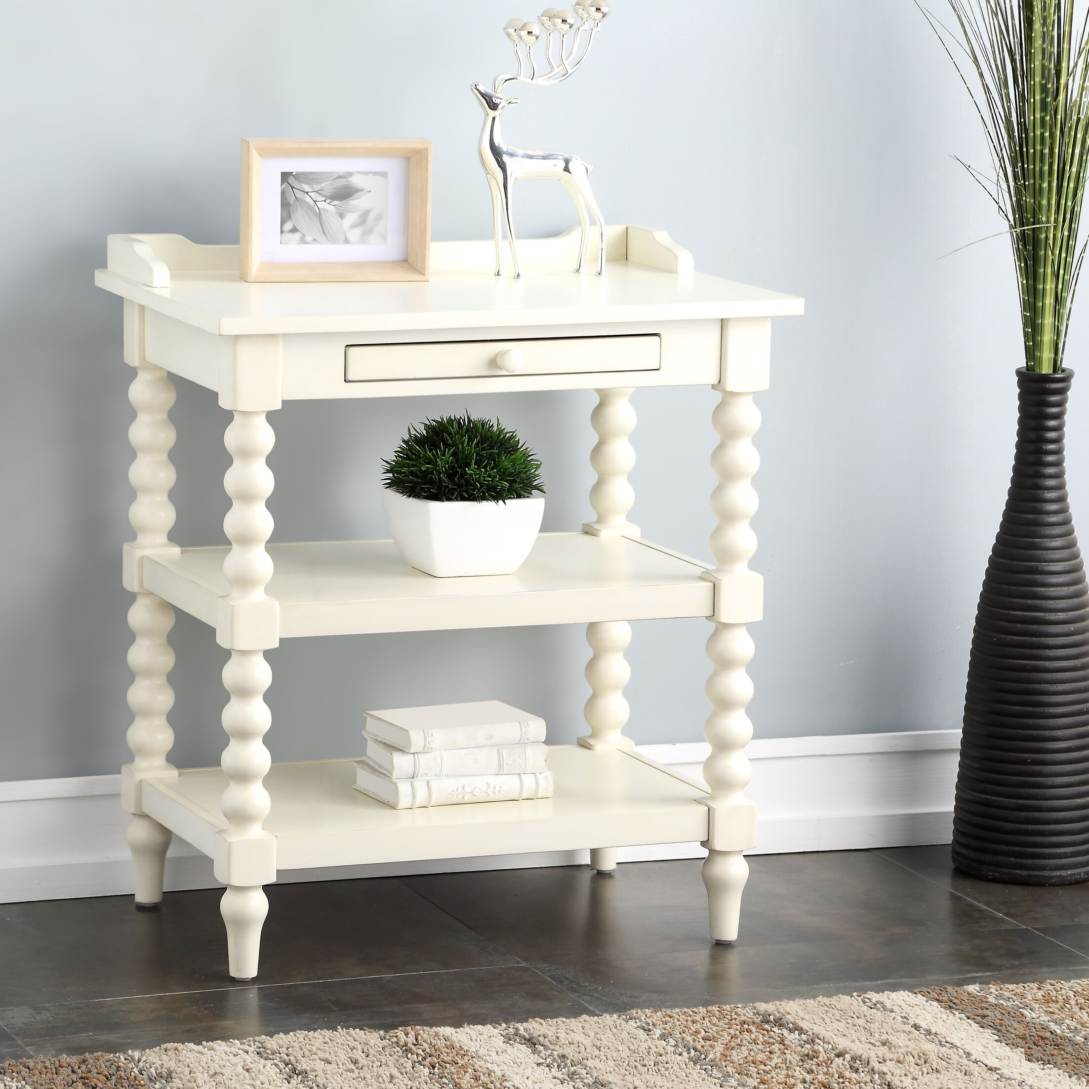 Clive 1 Drawer Nightstand Color: Antique White