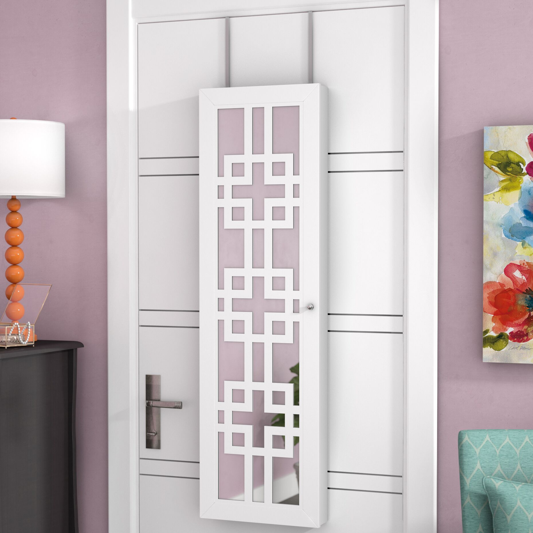 Modern Over The Door Jewelry Armoire with Mirror Color: White