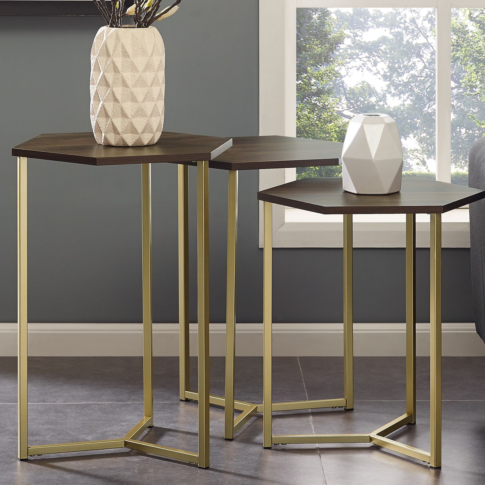 Byblos Hex 3 Piece Nesting Tables Color: Dark Walnut/Gold