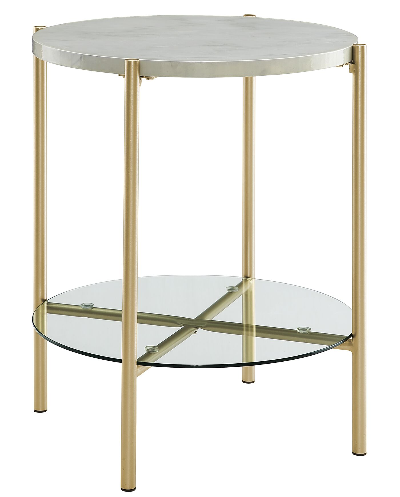 Carr Round End Table Color: Faux White/Gold