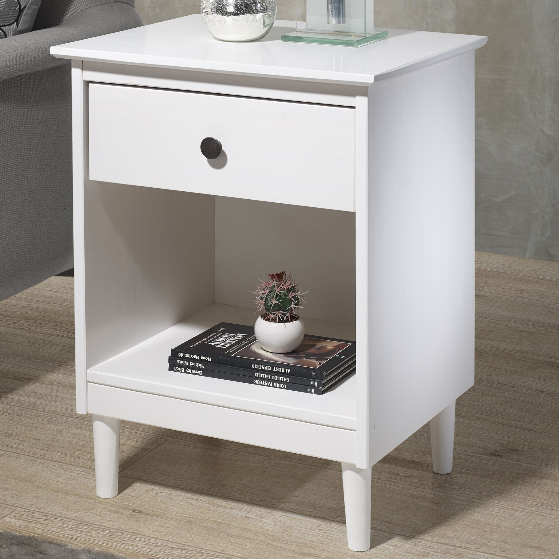 Jaren Solid Wood 1 Drawer Nightstand Color: White