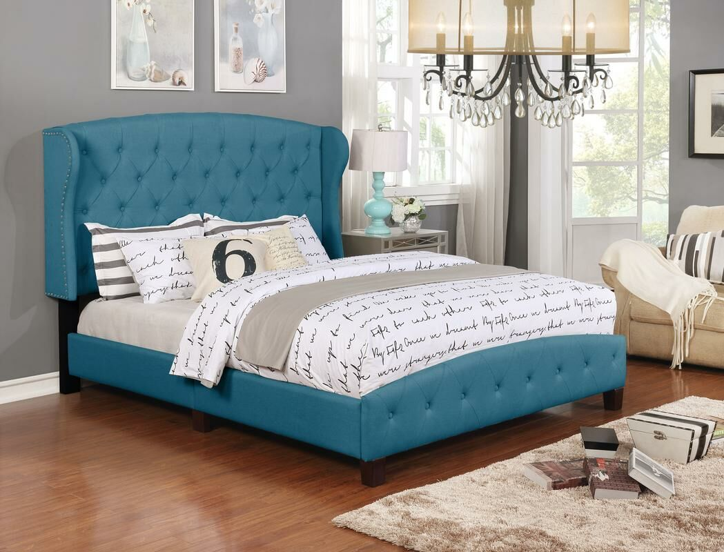 Vanesa Upholstered Panel Bed Color: Blue, Size: King