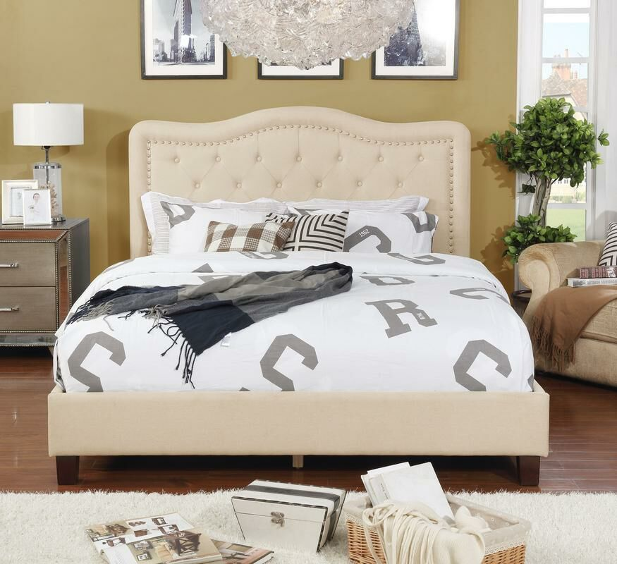 Jaylyn Upholstered Panel Bed Color: Beige, Size: Queen