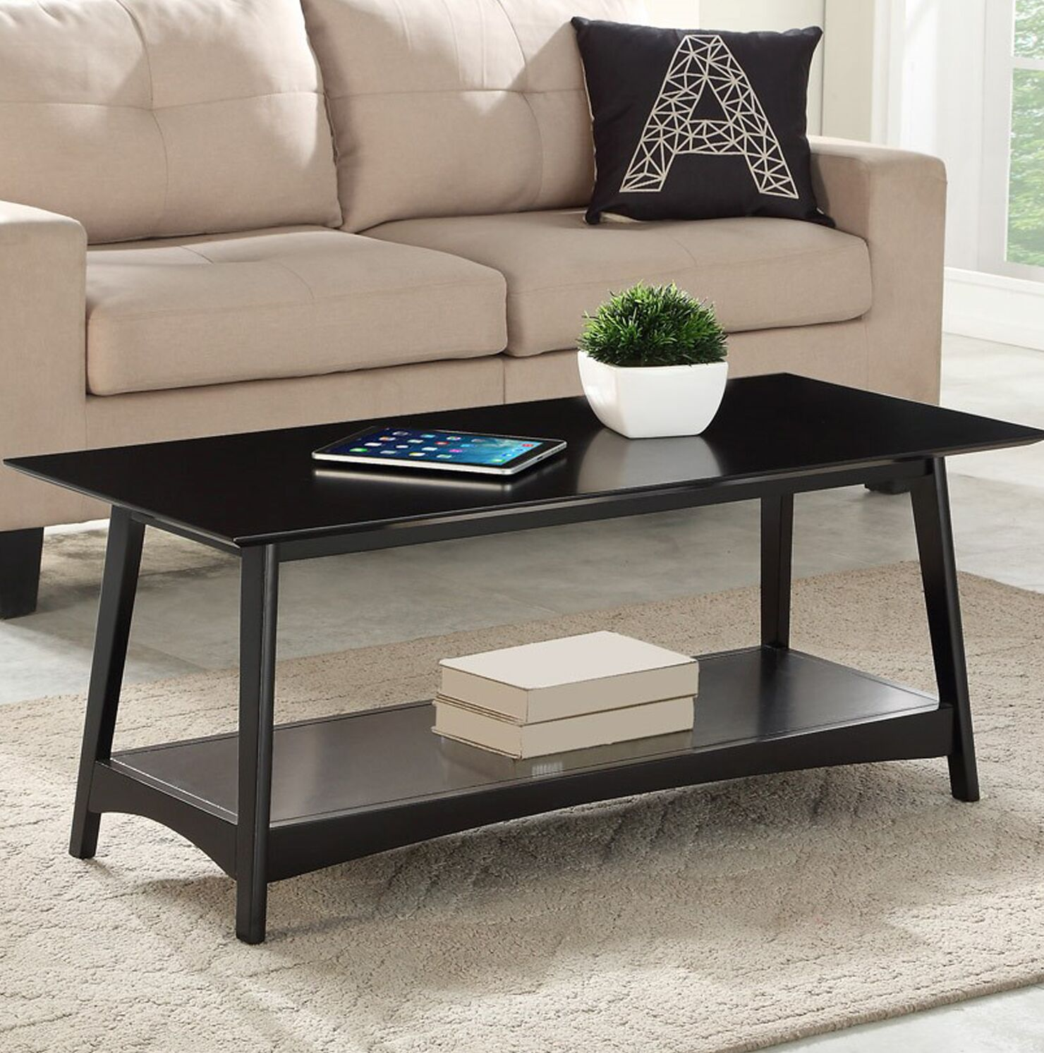 Mcatee Coffee Table Table Base Color: Black, Table Top Color: Black