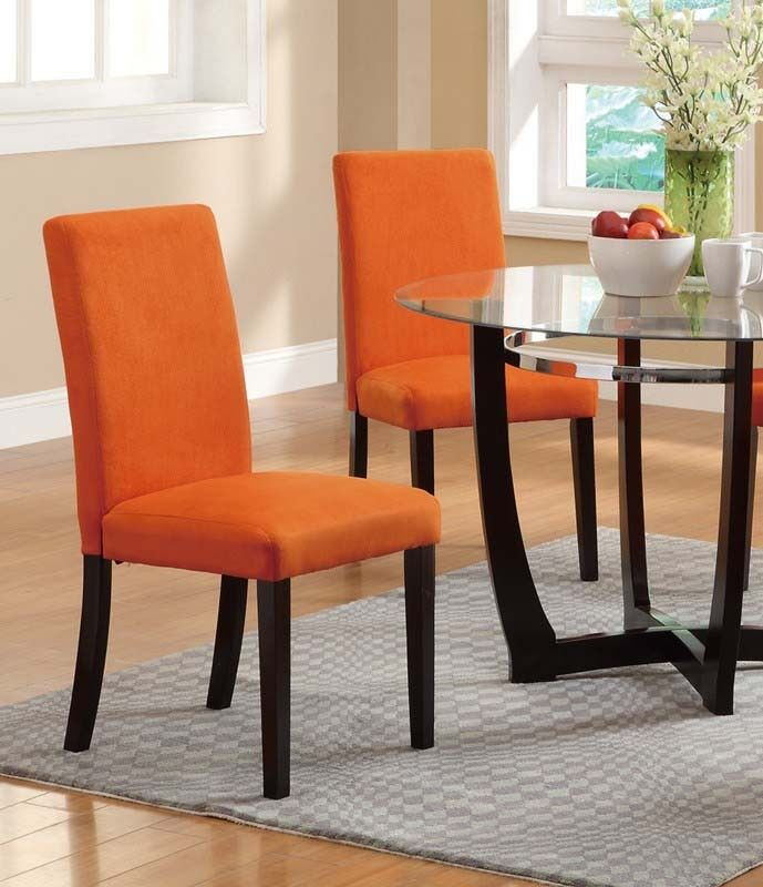 Zac Upholstered Dining Chair Upholstery Color: Bright Orange
