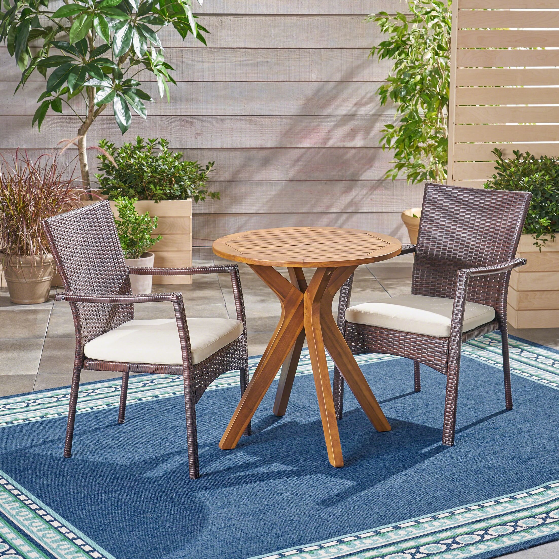 Briar Outdoor 3 Piece Bistro Set with Cushions Color: Teak/Brown, Cushion Color: Cream
