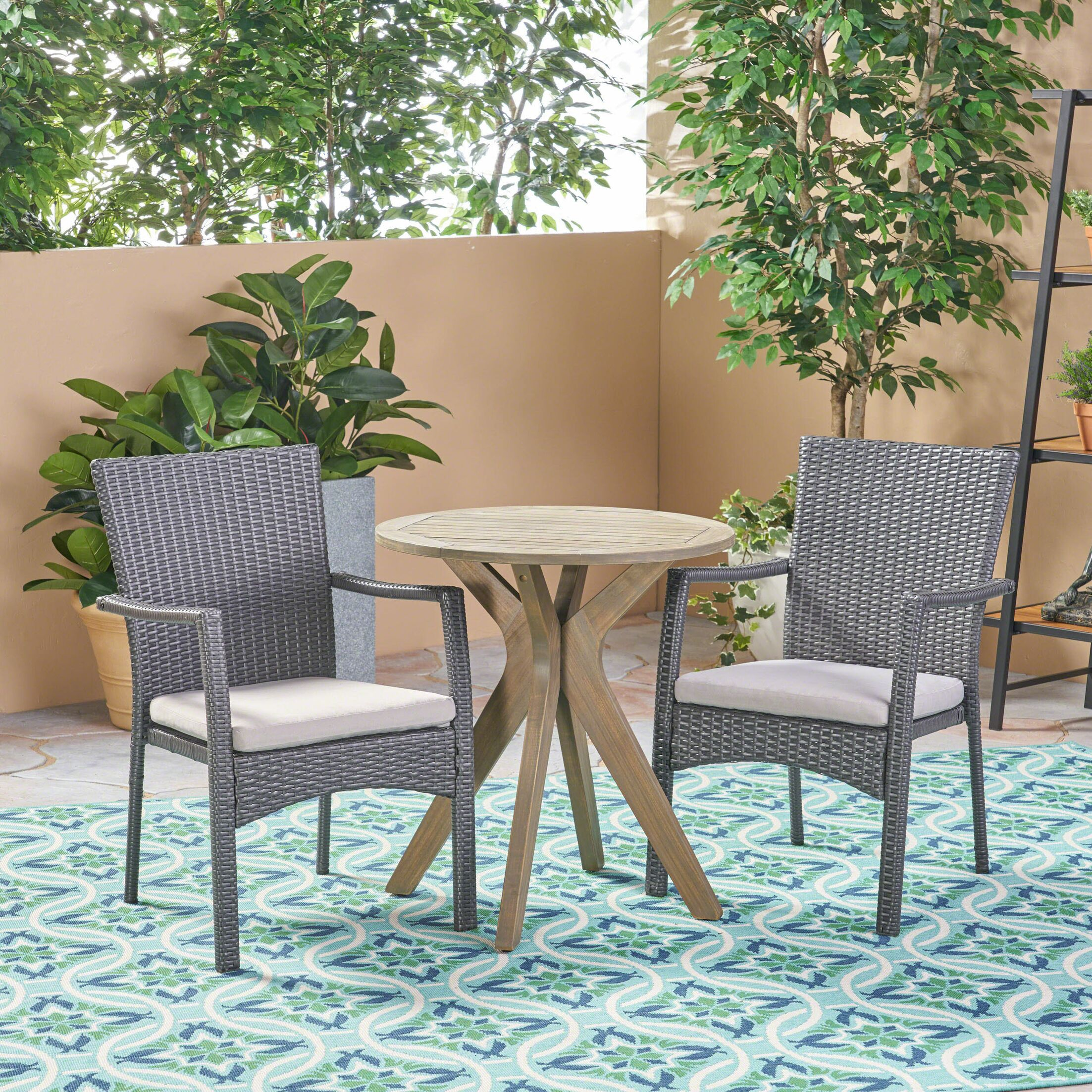 Briar Outdoor 3 Piece Bistro Set with Cushions Color: Gray, Cushion Color: Gray