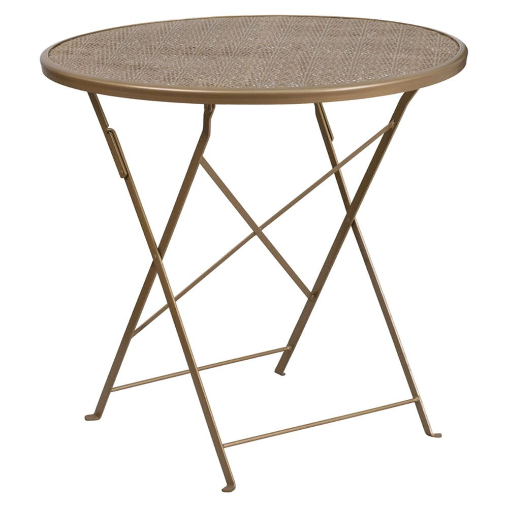 Corcoran Folding Metal Dining Table Color: Gold