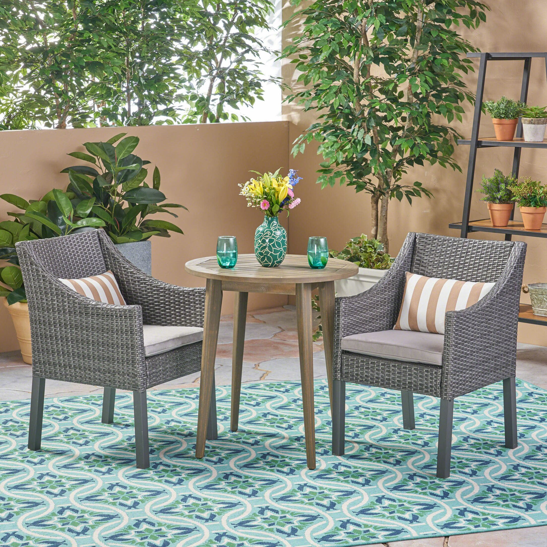 Rodden�Outdoor 3 Piece Bistro Set with Cushions Color: Gray, Cushion Color: Silver