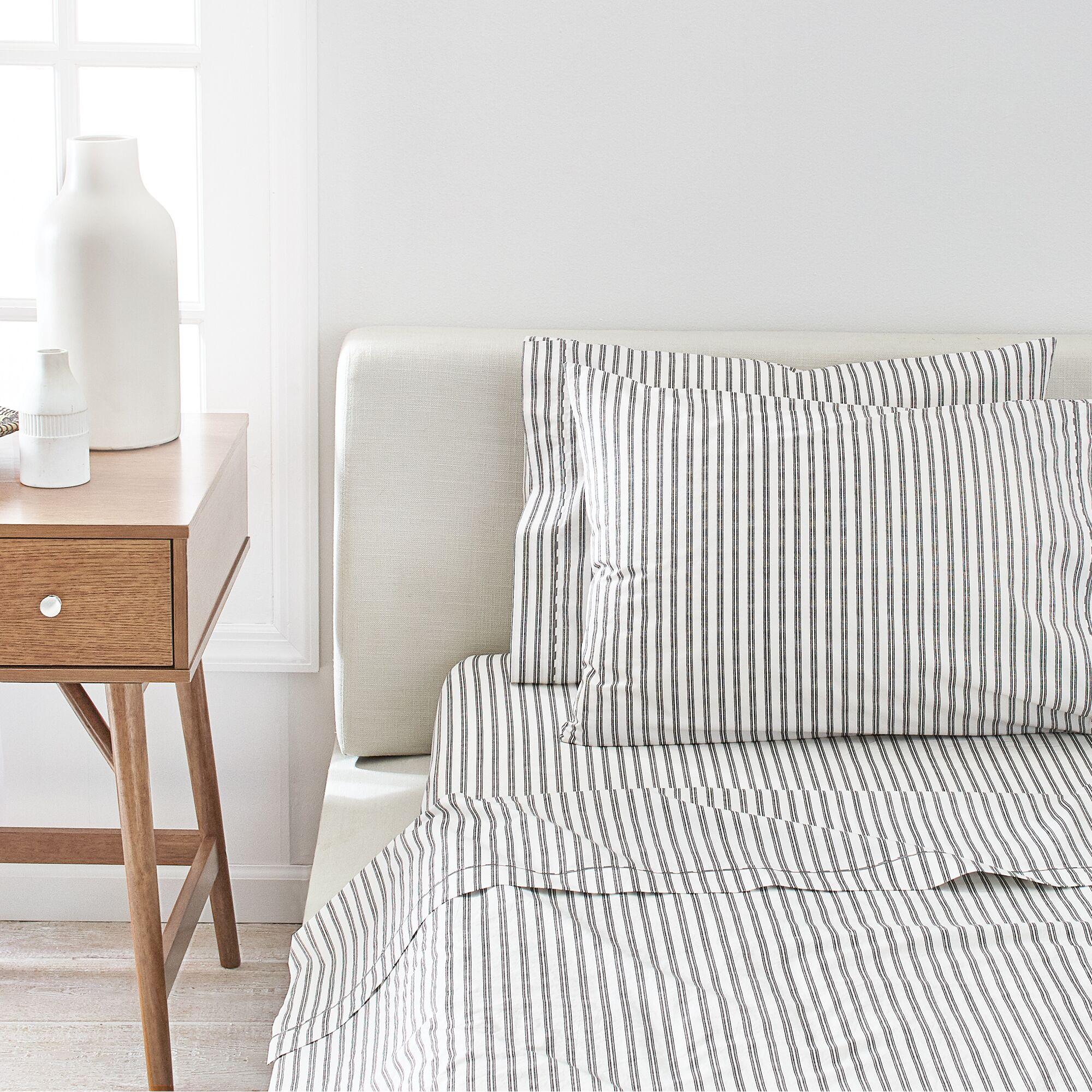 Ticking stripe 350 Thread Count Sheet Set Size: Twin