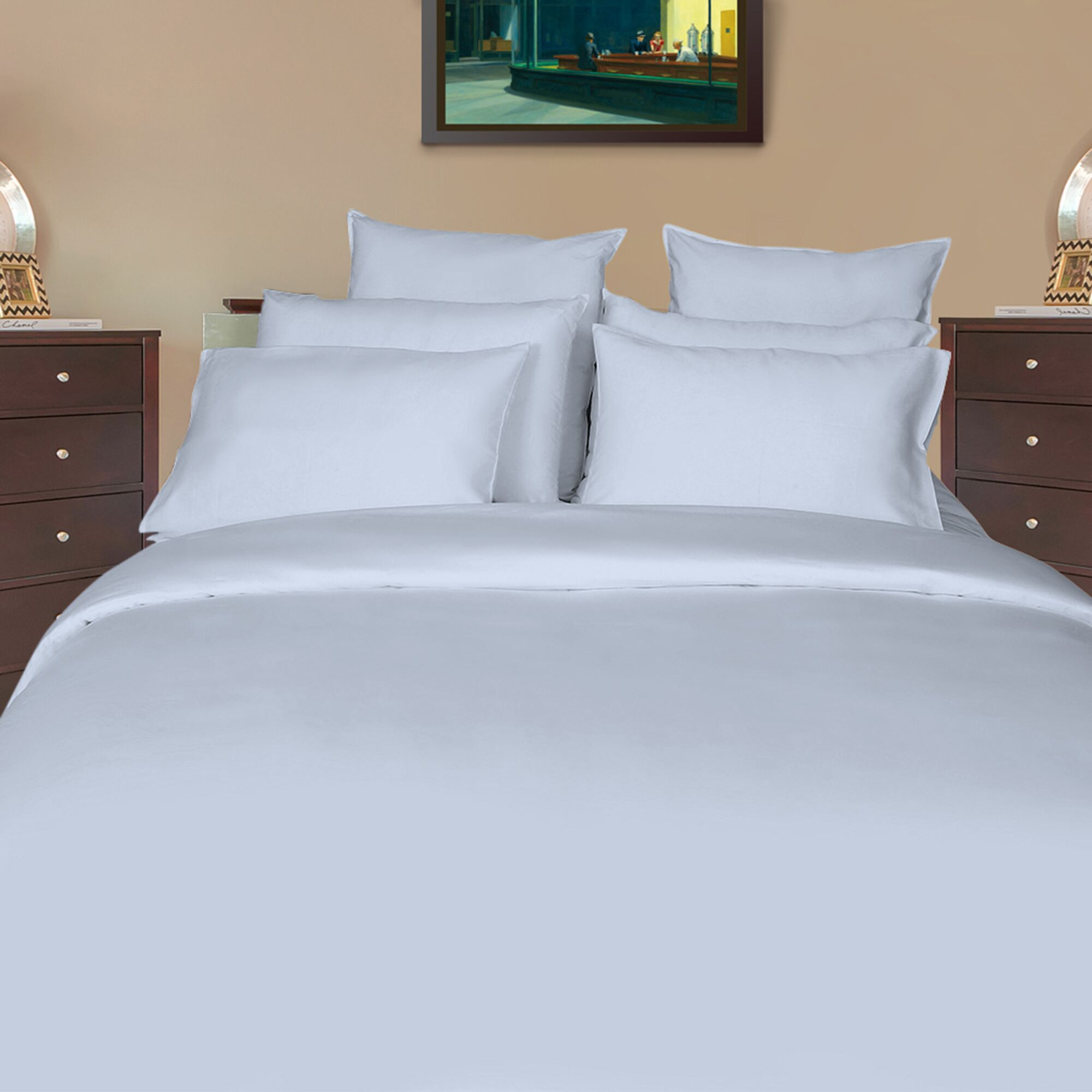 Huskins Sateen Solid 600 Thread Count 100% Cotton Sheet Set Size: King L, Color: Arctic Ice