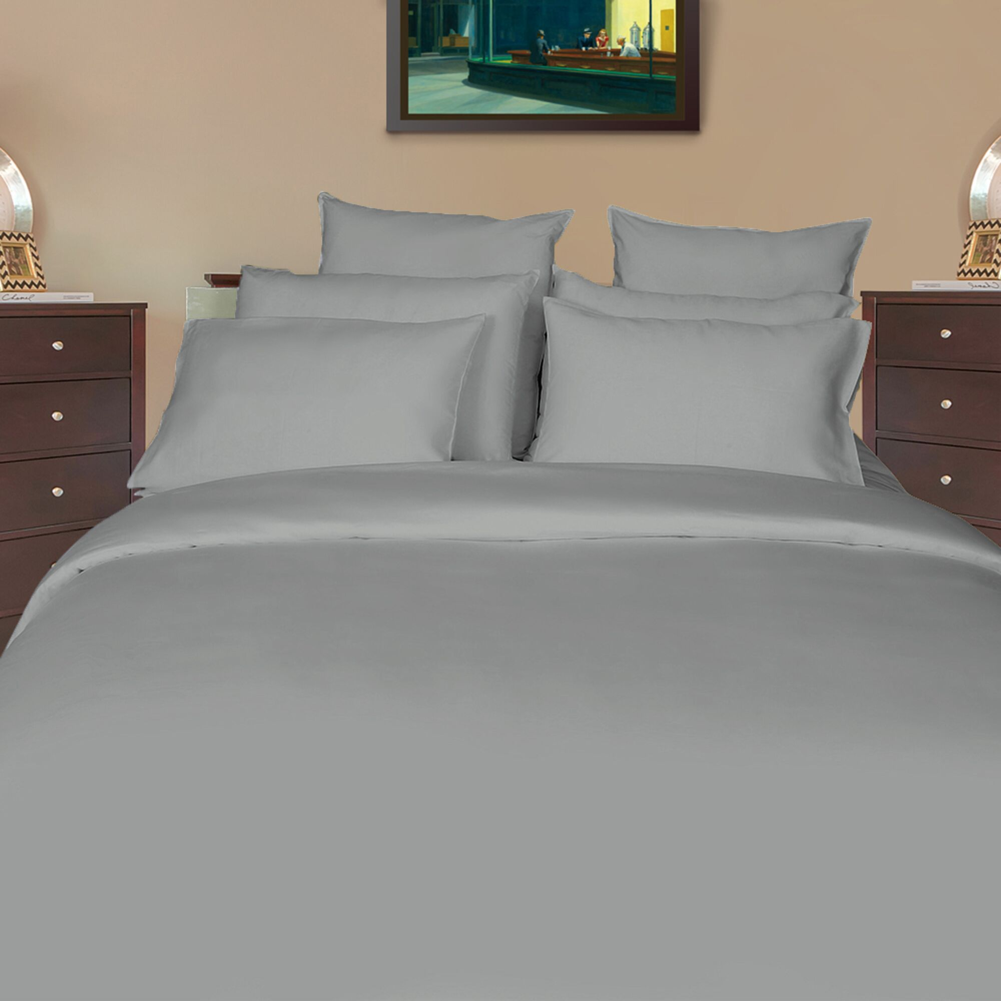 Iacovelli Sateen Solid 700 Thread Count 100% Cotton Sheet Set Color: Drizzle, Size: Twin