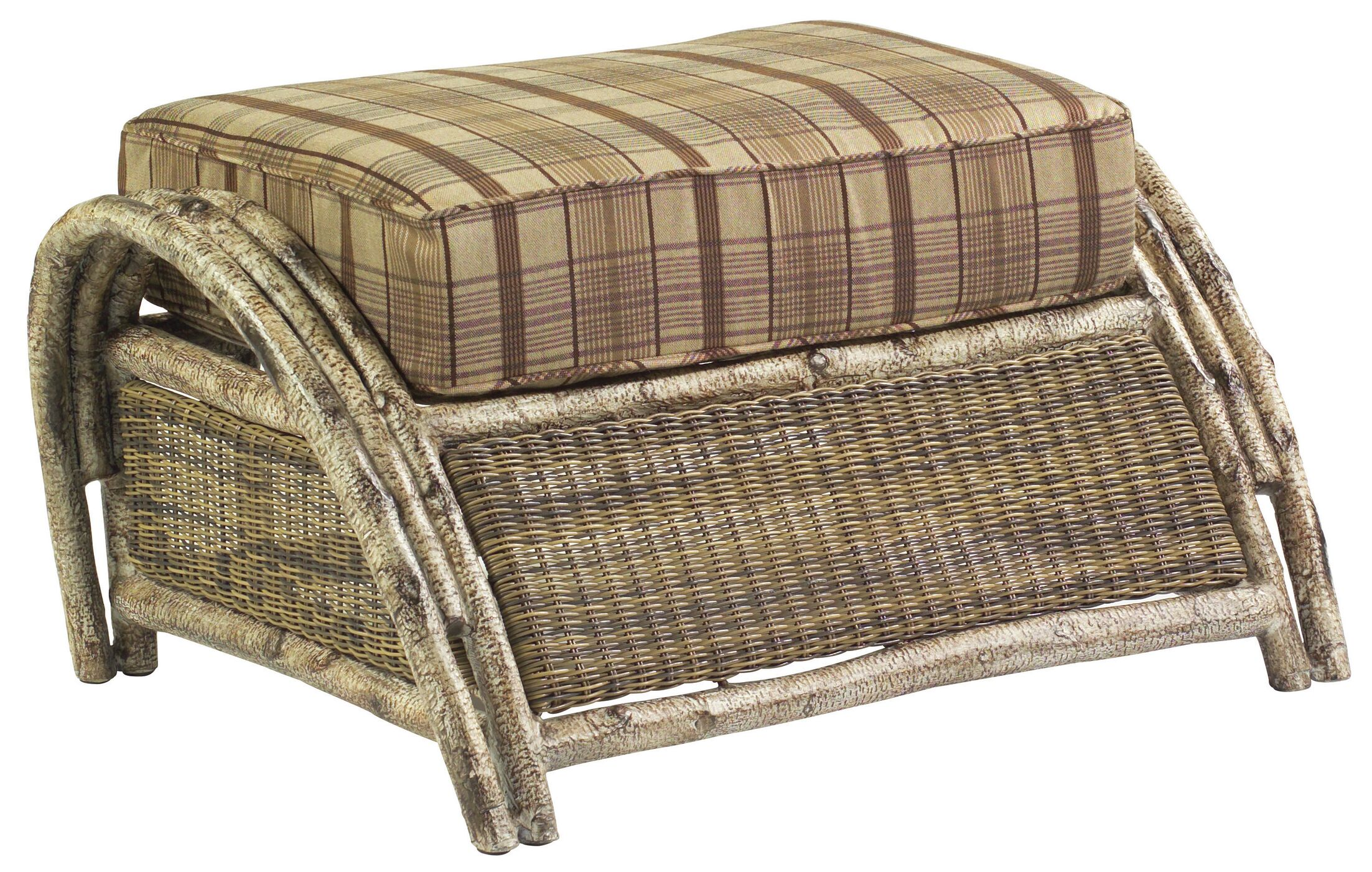 River Run Ottoman with Cushion Fabric: Paris Honeydew