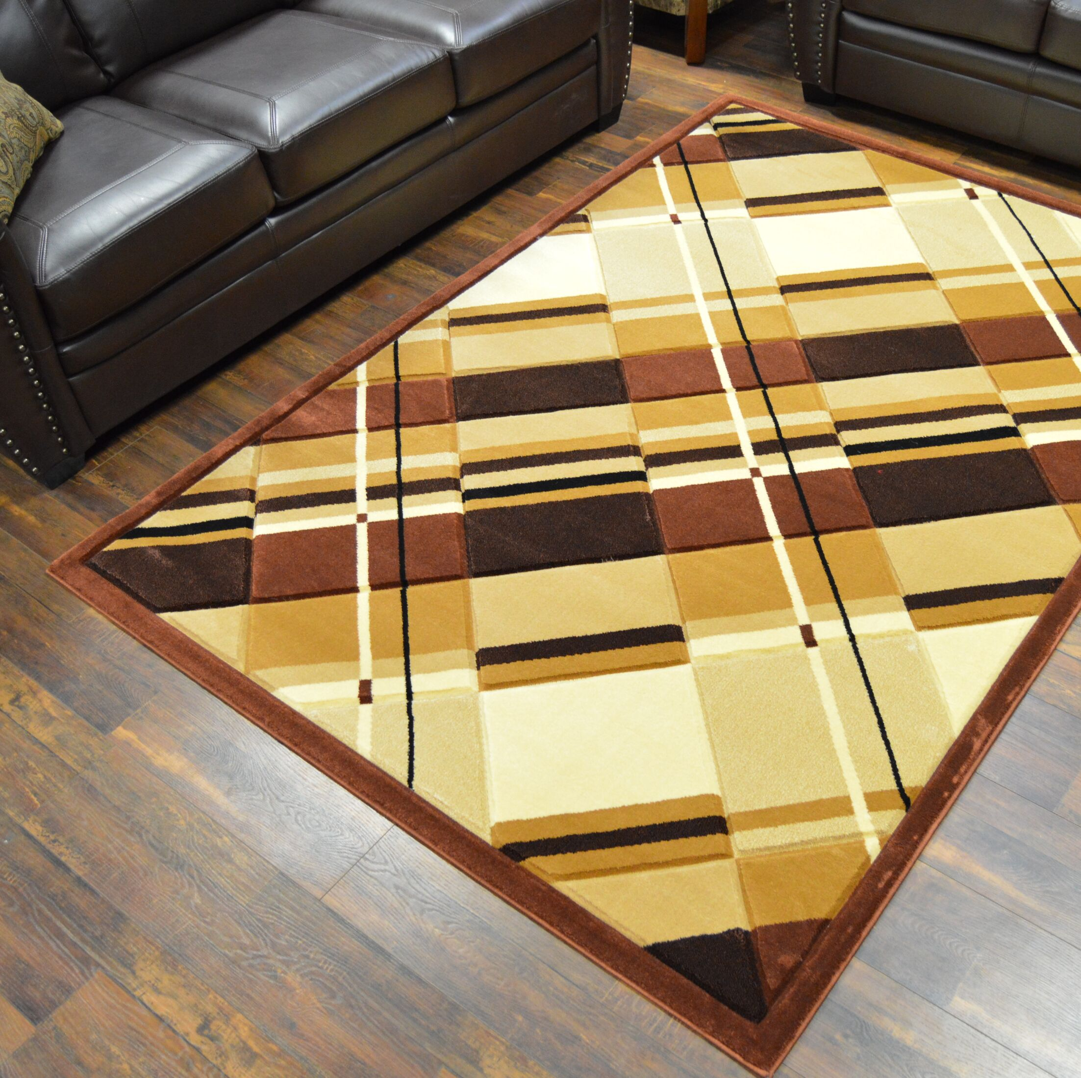 Mccampbell 3D Hand Carved Gold Area Rug