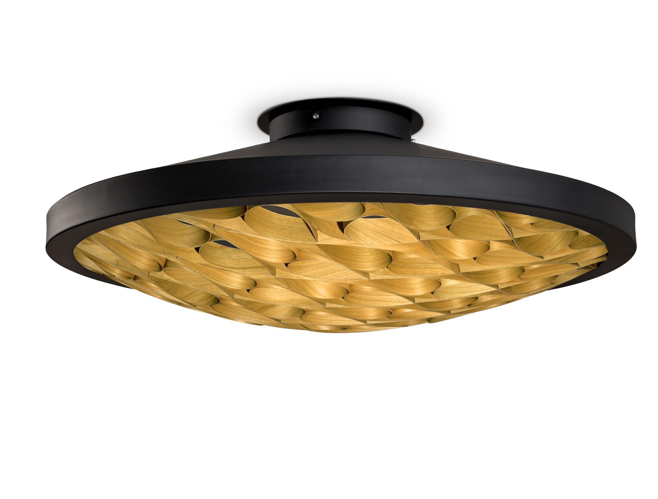 Cervantes LED Semi Flush Mount Finish: Matte Black, Shade Color: Natural Beech