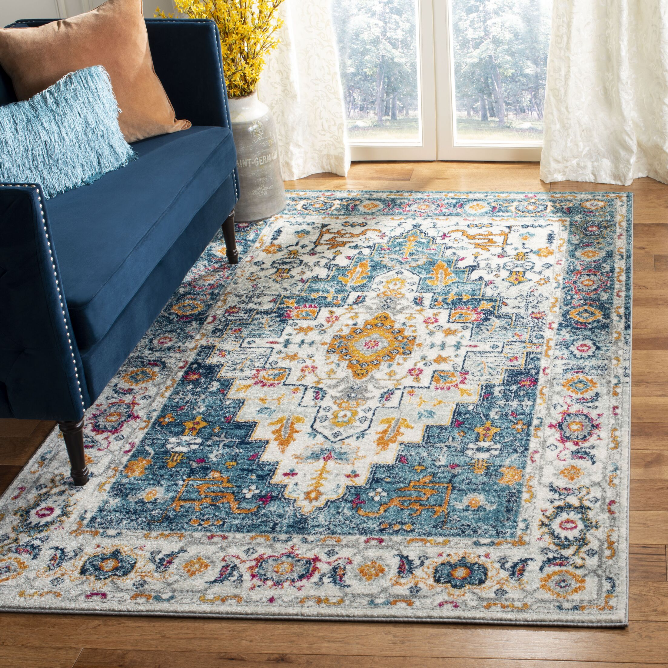 Grieve Turquoise/Ivory Area Rug Rug Size: Square 6'7