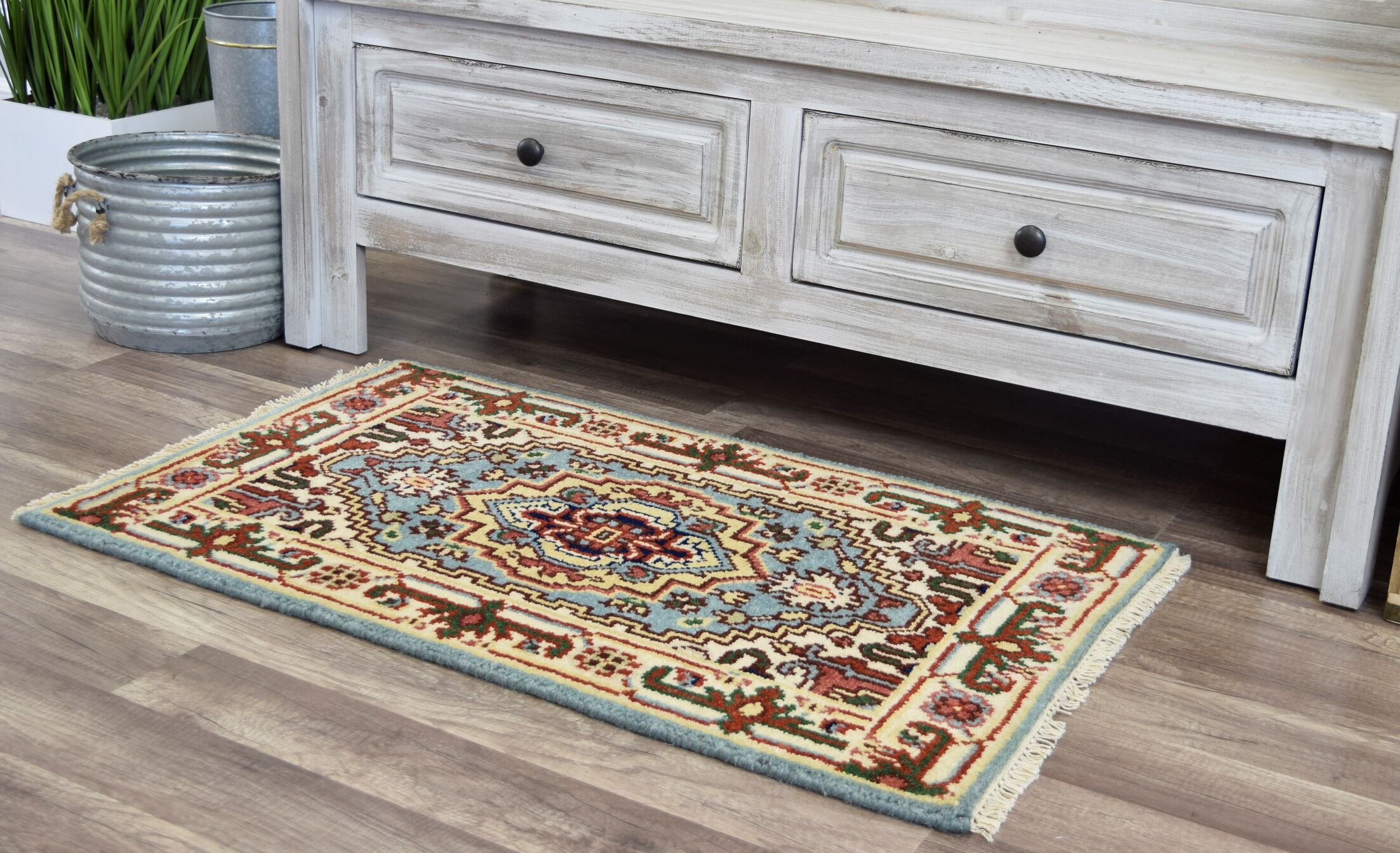 Oriole Hand-Knotted Wool Light Blue/Beige Area Rug Rug Size: Rectangle 2' x 3'