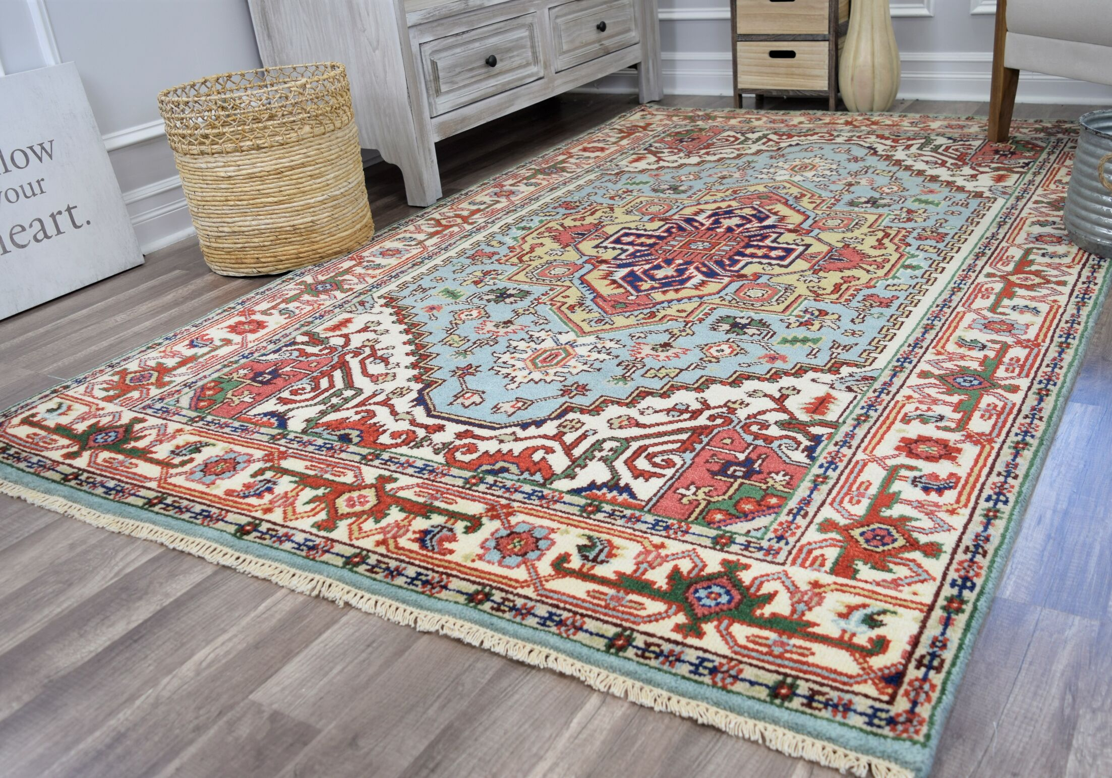Oriole Hand-Knotted Wool Light Blue/Beige Area Rug Rug Size: Rectangle 5' x 8'