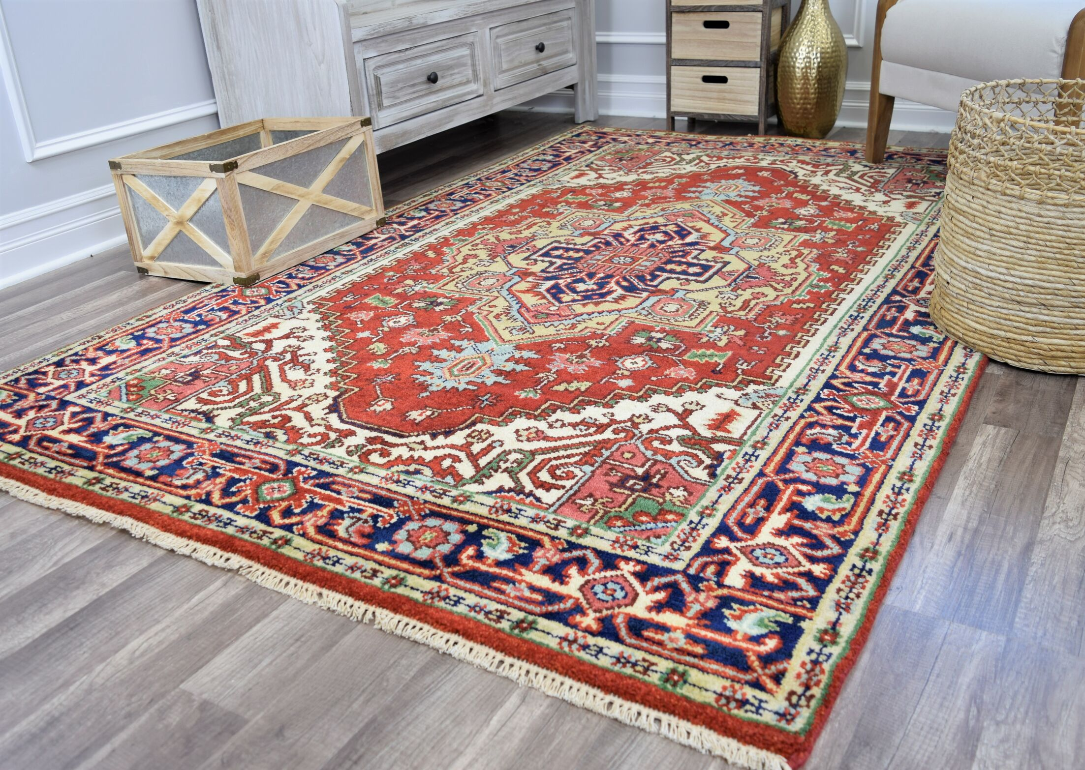 Oriole Hand-Knotted Wool Red/Beige Area Rug Rug Size: Rectangle 4' x 6'