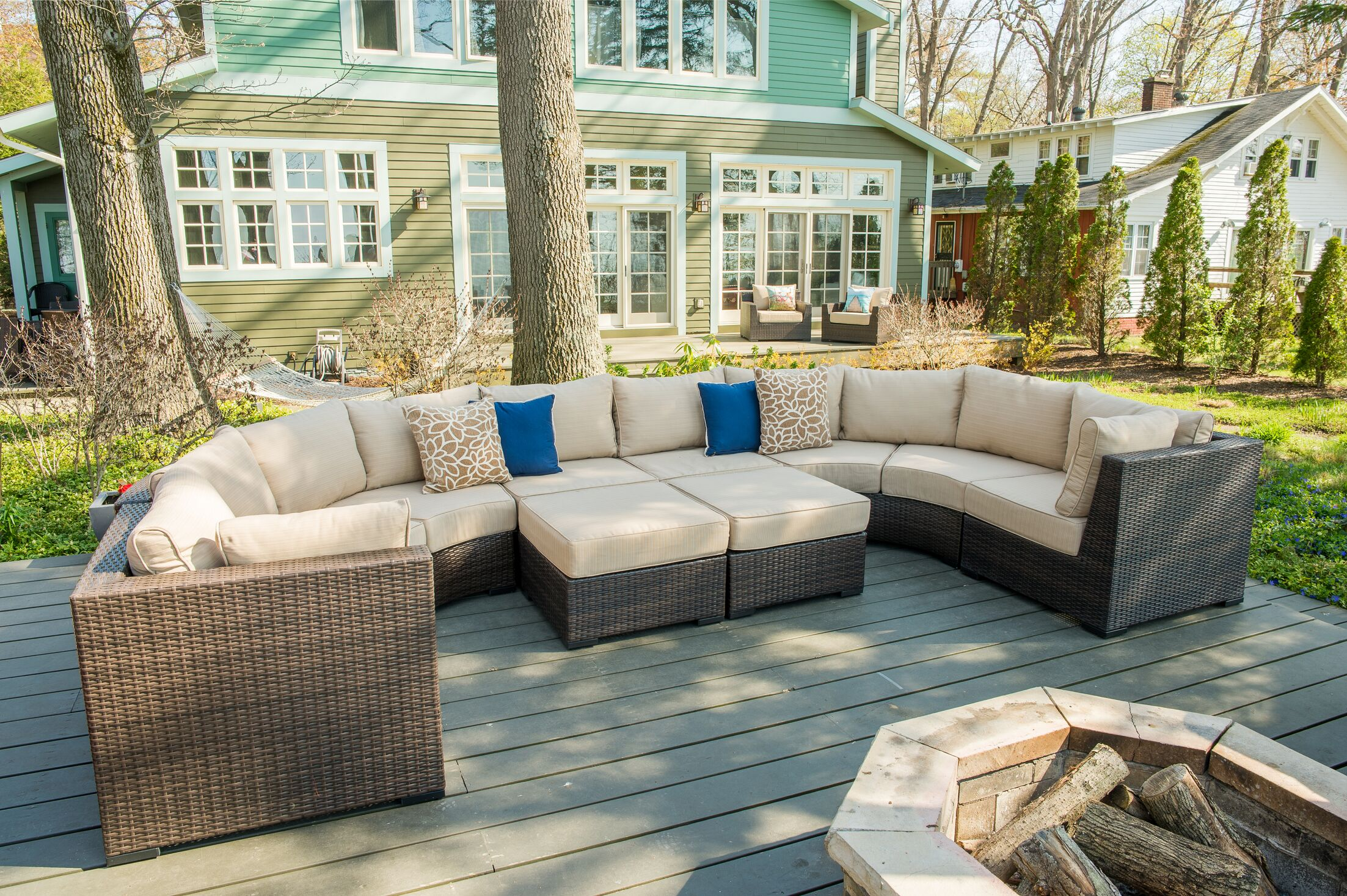 Darden 8 Piece Rattan Sectional Seating Group with Cushions Cushion Color: Sangria