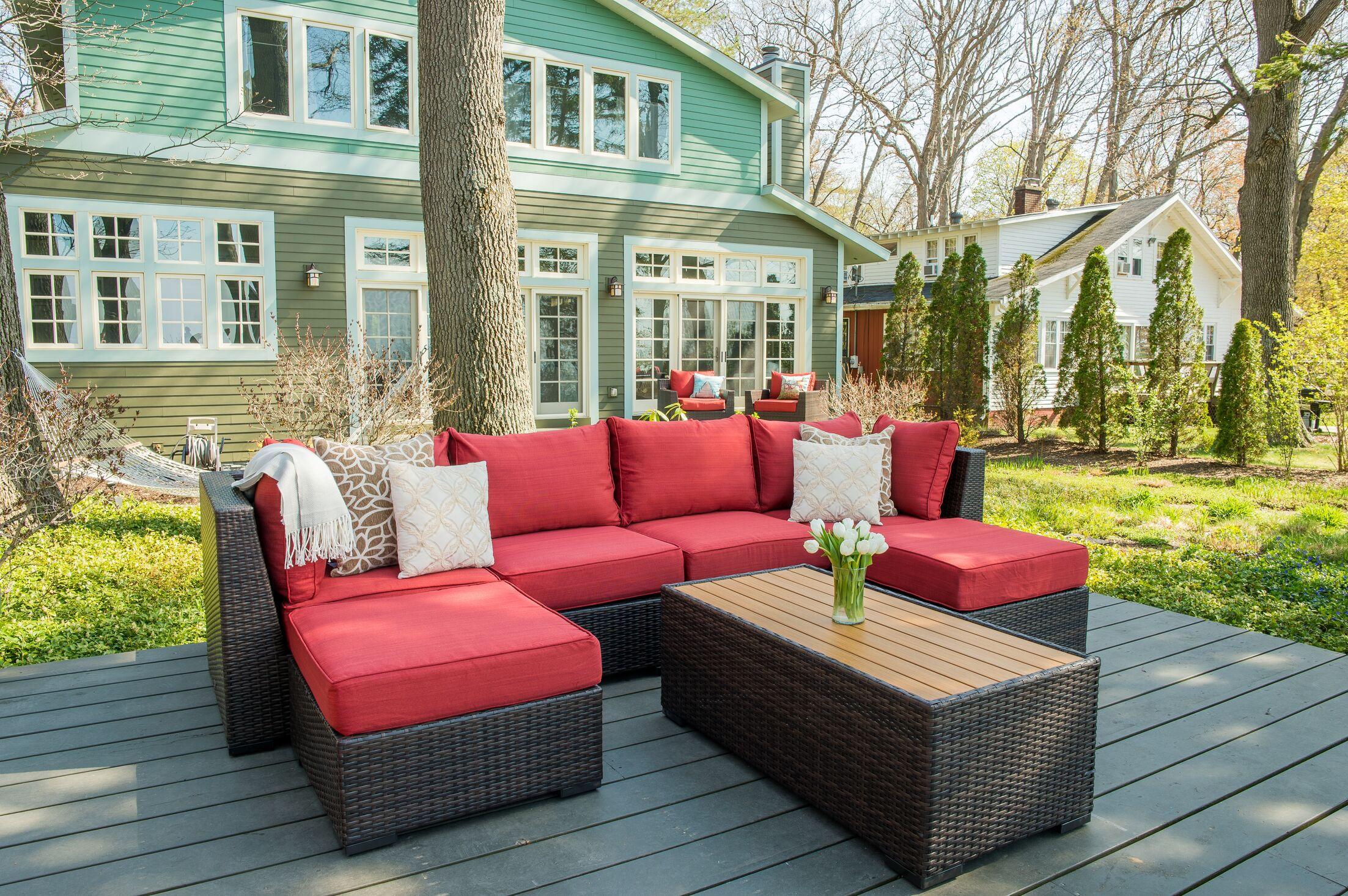 Darden 7 Piece Rattan Sectional Seating Group with Cushions Cushion Color: Sangria