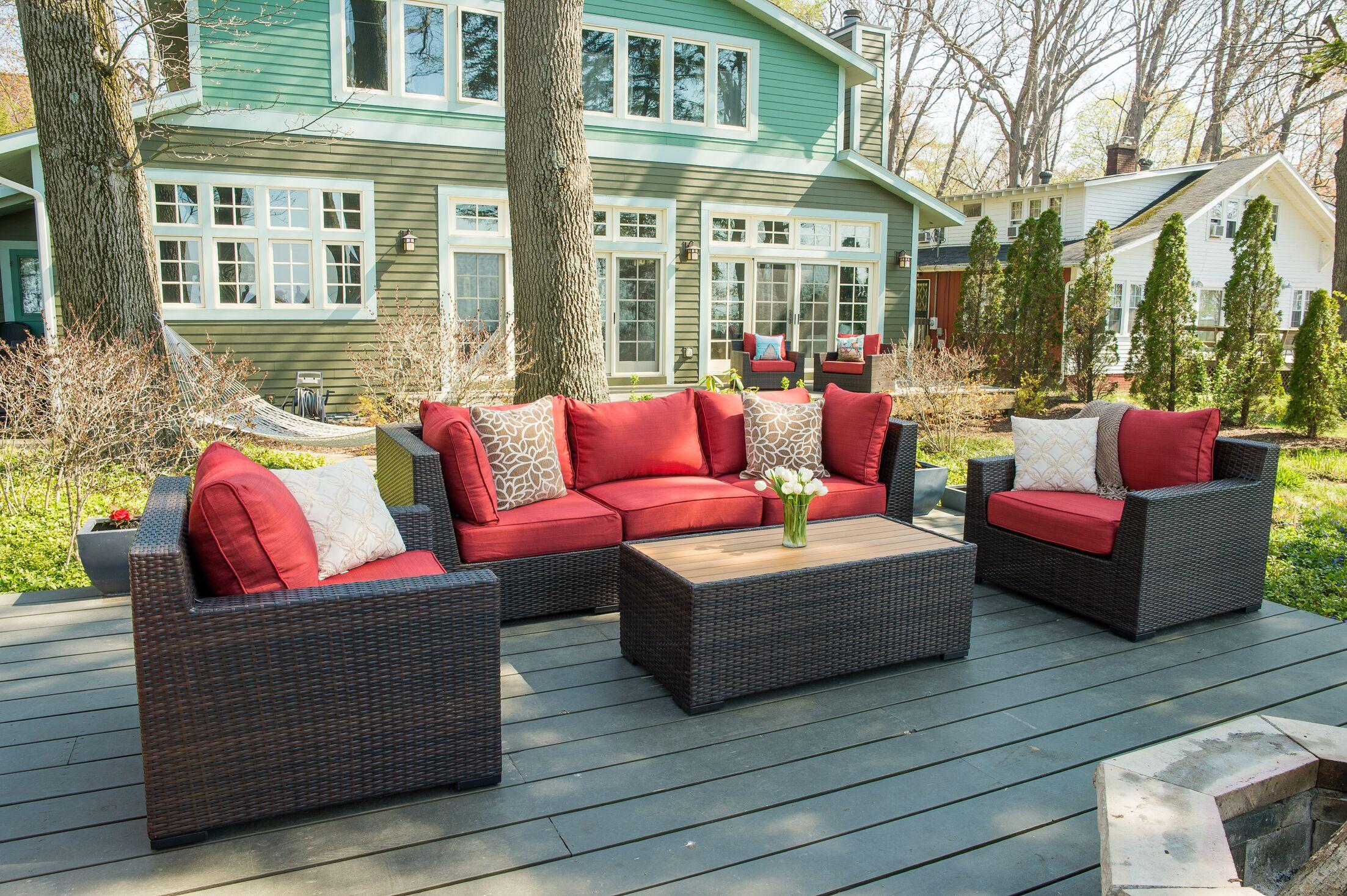Darden 6 Piece Rattan Sofa Seating Group with Cushions Cushion Color: Regatta