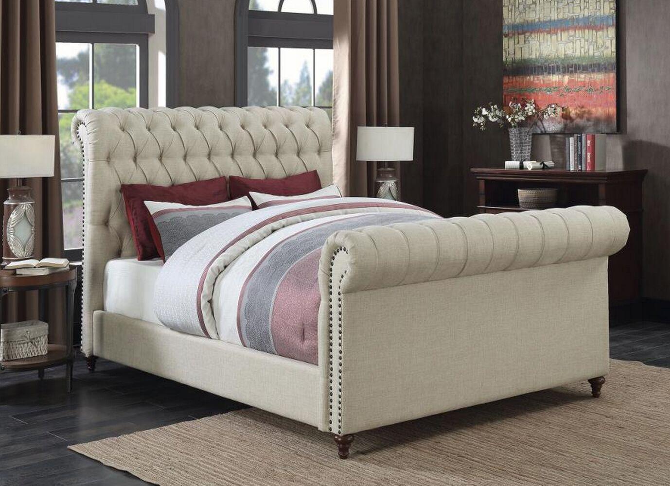 Patel Upholstered Panel Bed Color: Beige, Size: California King