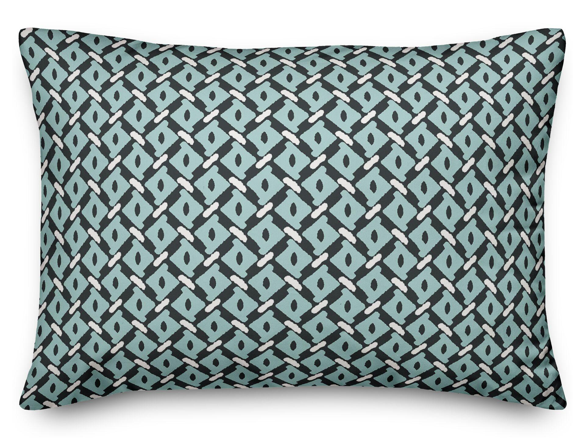 Sabina Diamond Lumbar Pillow Color: Blue/Green
