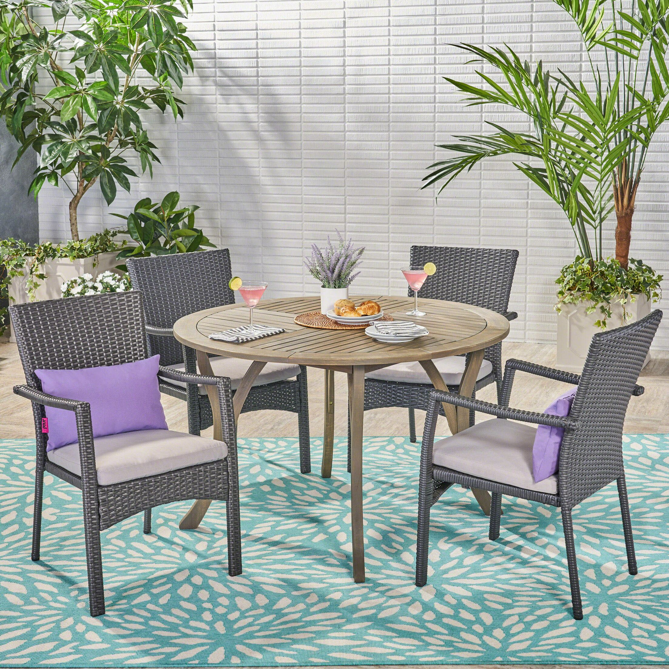 Aarhus 5 Piece Dining Set with Cushions