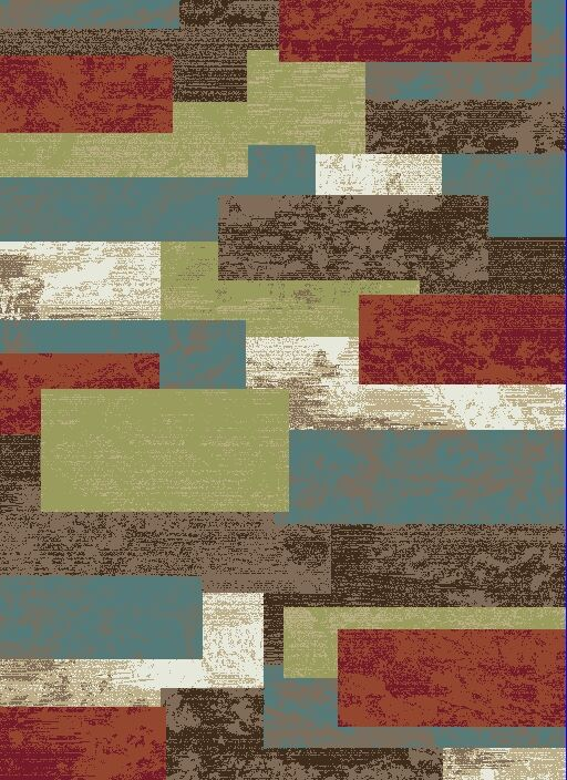 Leandro Boxes Brown/Blue Area Rug Rug Size: Rectangle 5'3