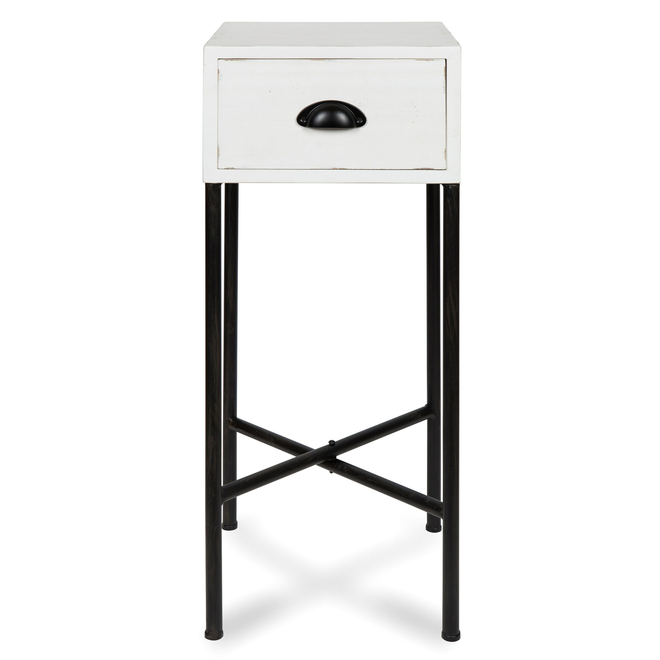 Varian Wood Side End Table Color: White