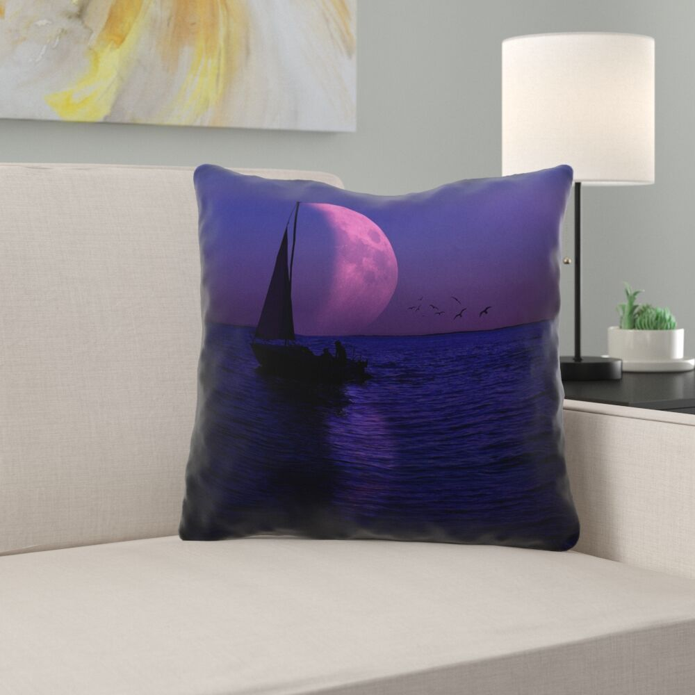 Jada Moon and Sailboat Square Outdoor Throw pillow Size: 18