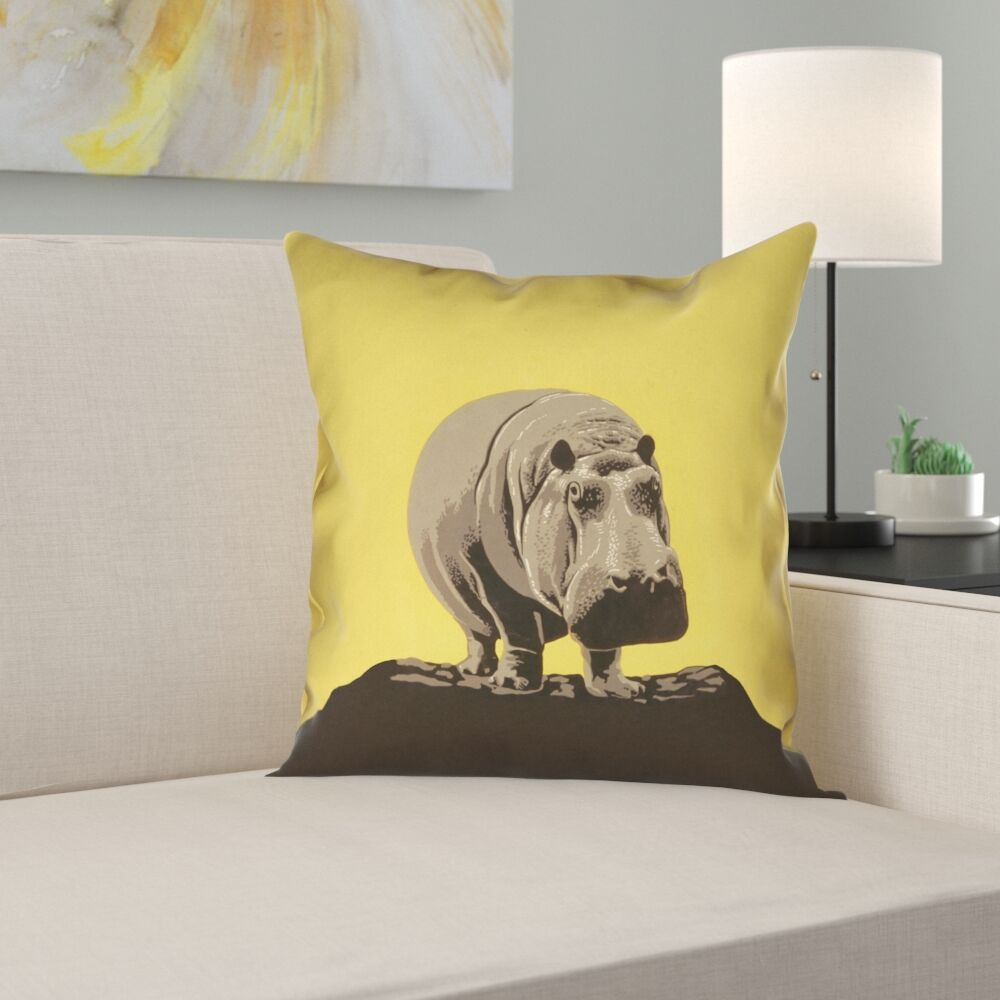 Hansard Vintage Hippo Zoo Poster Pillow Cover with Zipper Size: 18