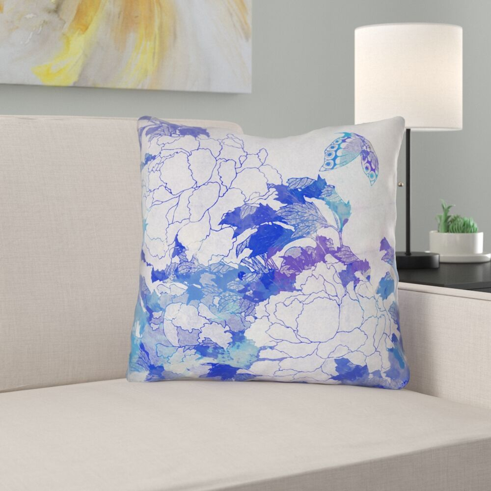 Raritan Watercolor Peonies and Butterfly Suede Throw Pillow Size: 26