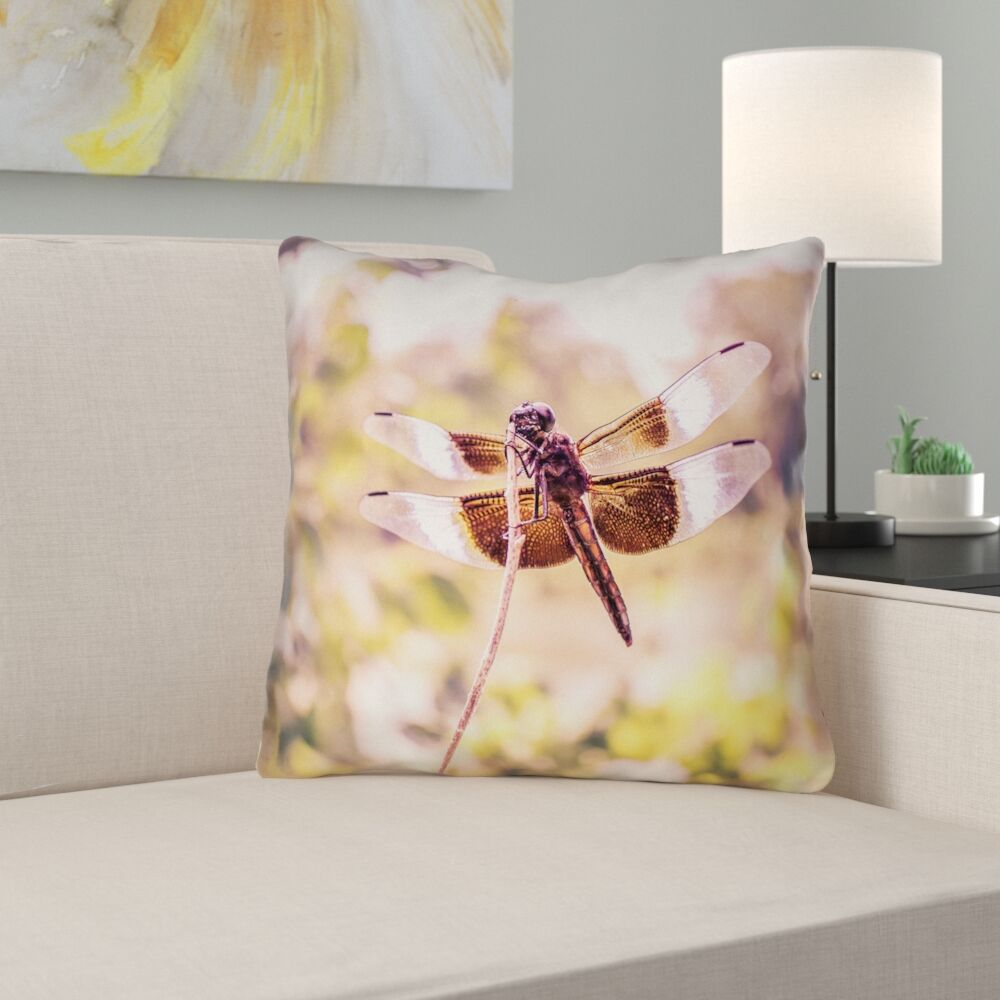 Hargis Dragonfly Suede Throw Pillow Size: 18