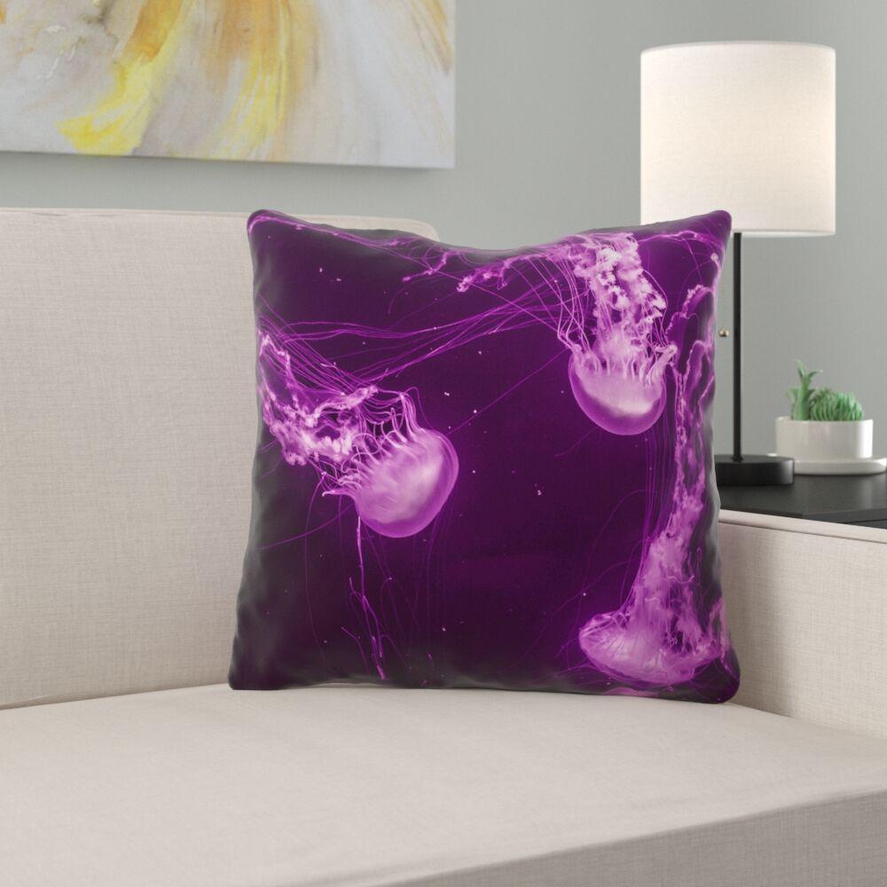 Hansard Magenta Jellyfish 100% Cotton Throw Pillow Size: 20