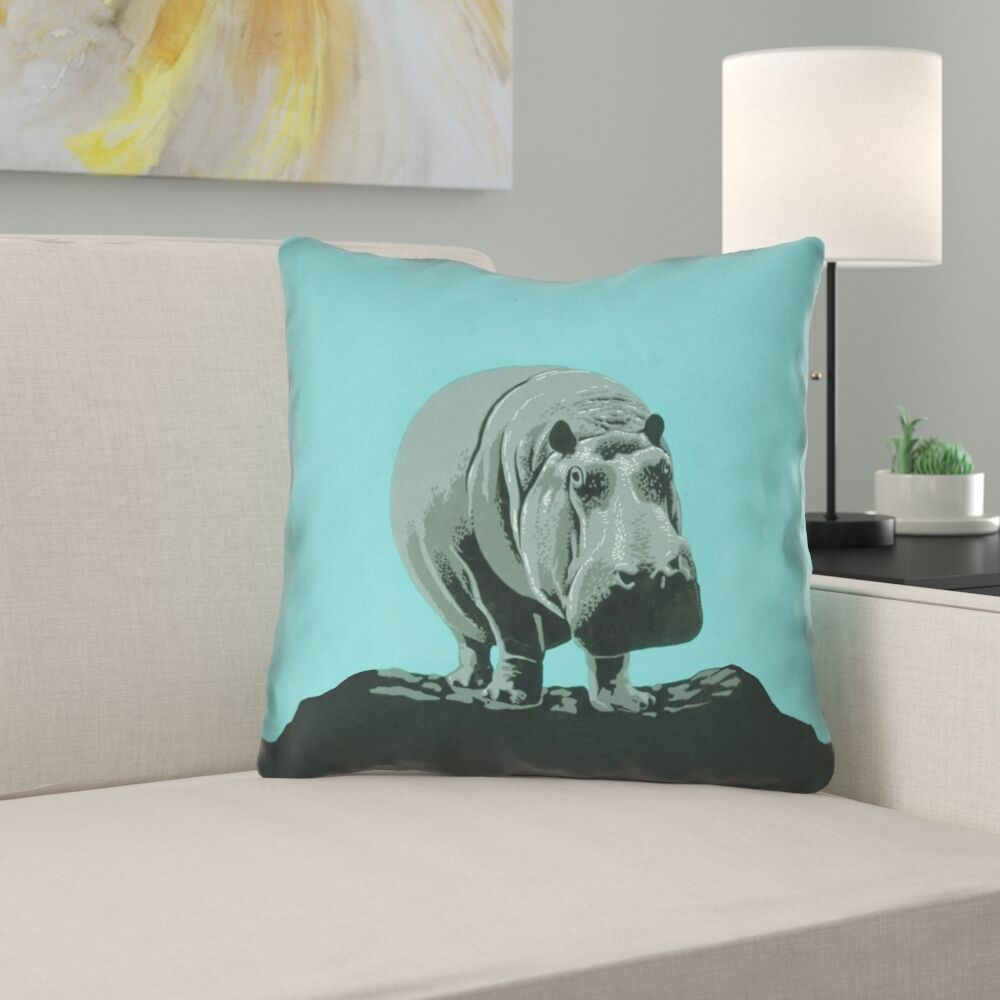 Hansard Vintage Hippo Zoo Poster Square Throw Pillow Size: 16