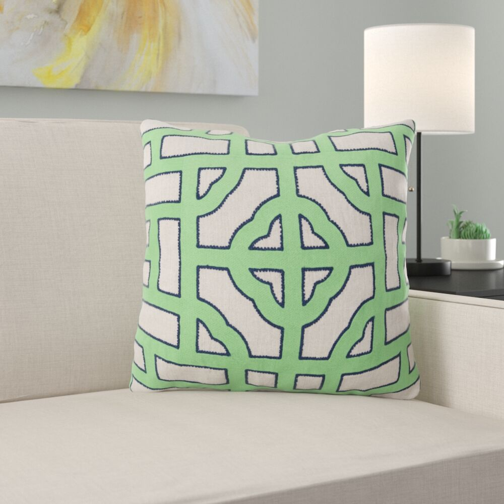Watson Polyester Throw Pillow Color: Ivory/Emerald, Size: 22