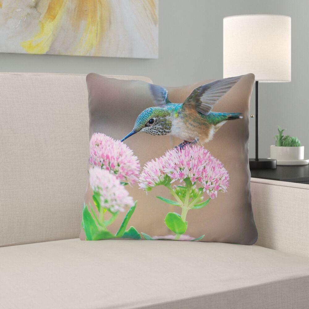 Holte Hummingbird Indoor/Outdoor Throw Pillow Size: 18