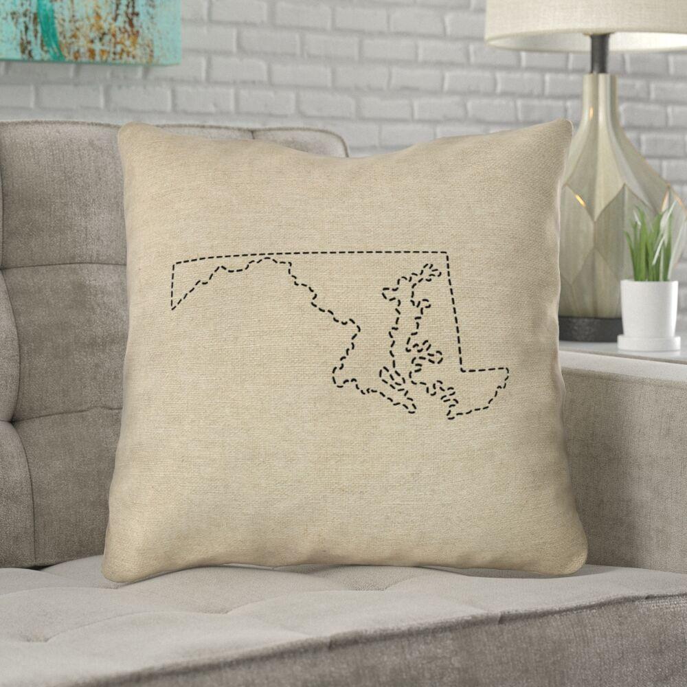Austrinus Maryland Dash Outline Outdoor Throw Pillow Size: 18