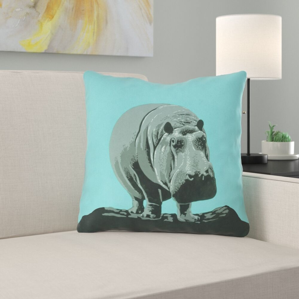 Hansard Vintage Hippo Zoo Poster Throw Pillow with Zipper Size: 18